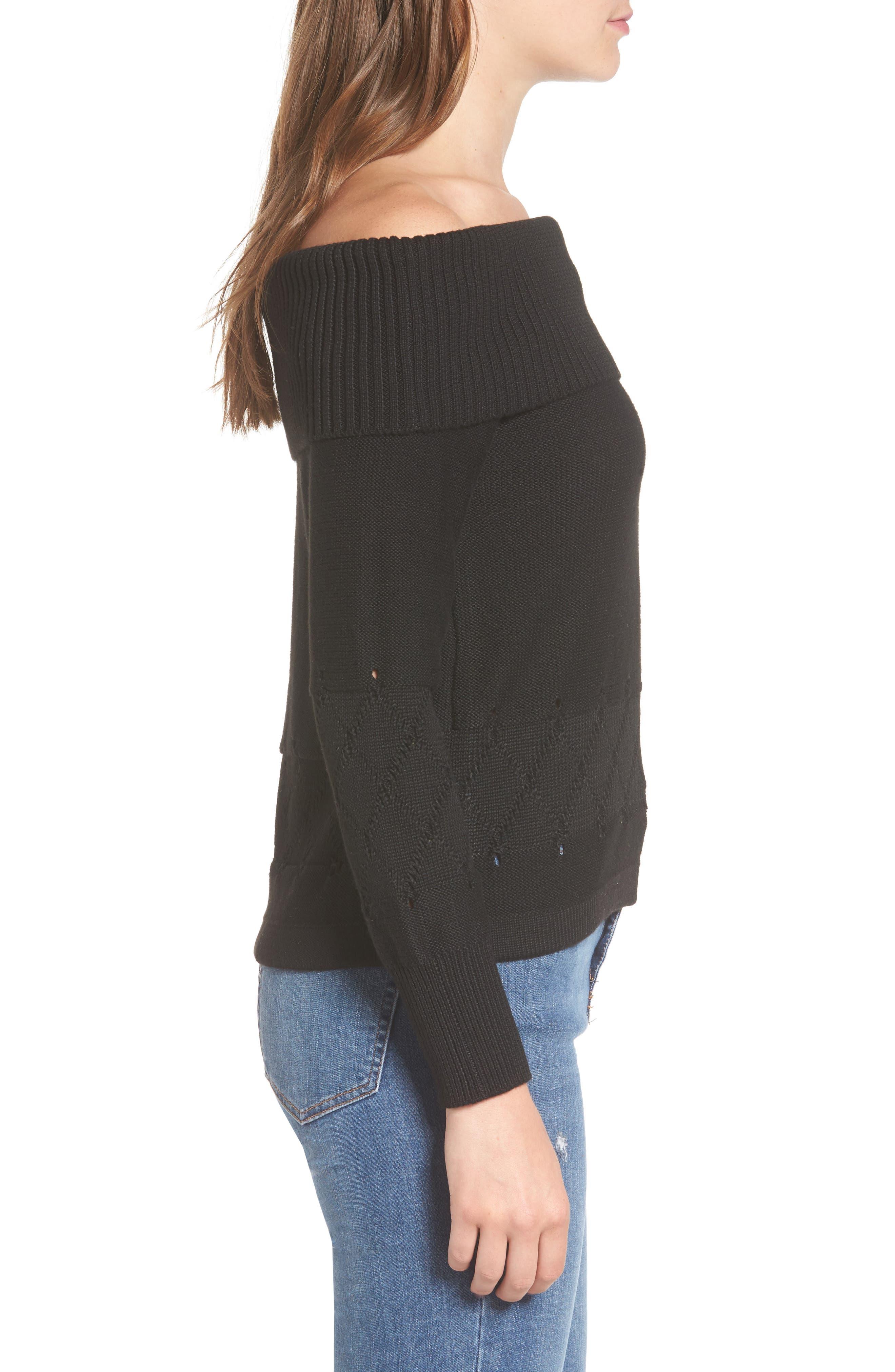 Terri Off the Shoulder Sweater,                             Alternate thumbnail 3, color,                             001