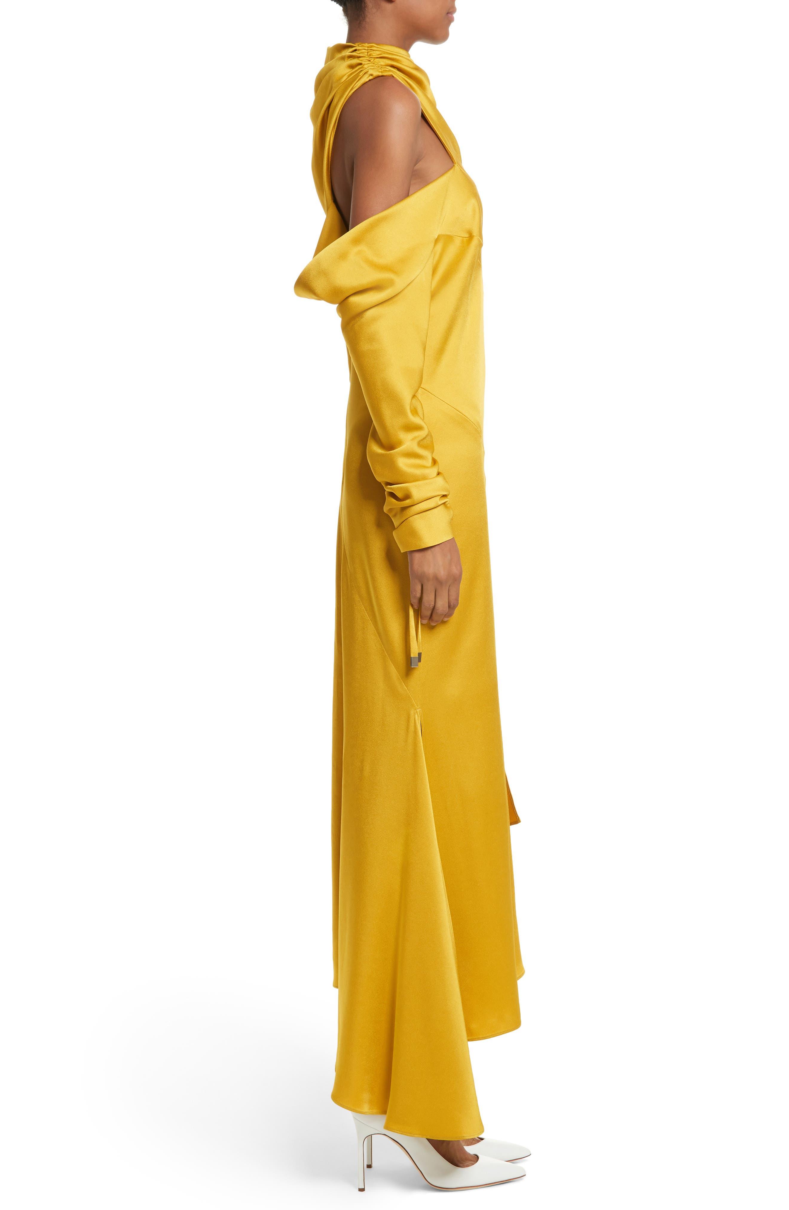 Crepe Back Satin Cold Shoulder Dress,                             Alternate thumbnail 3, color,                             700