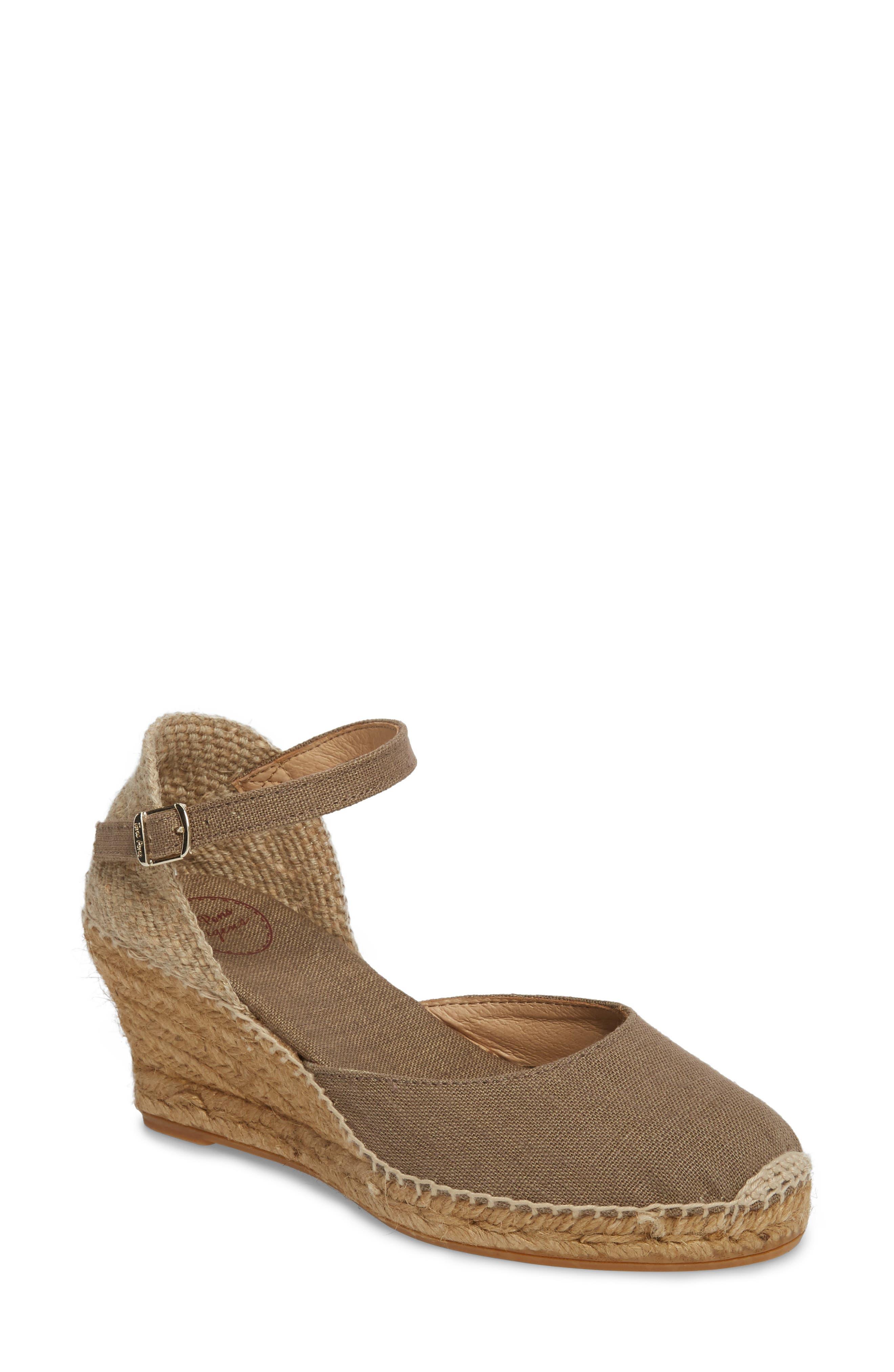 'Caldes' Linen Wedge Sandal,                             Main thumbnail 1, color,                             TAUPE FABRIC