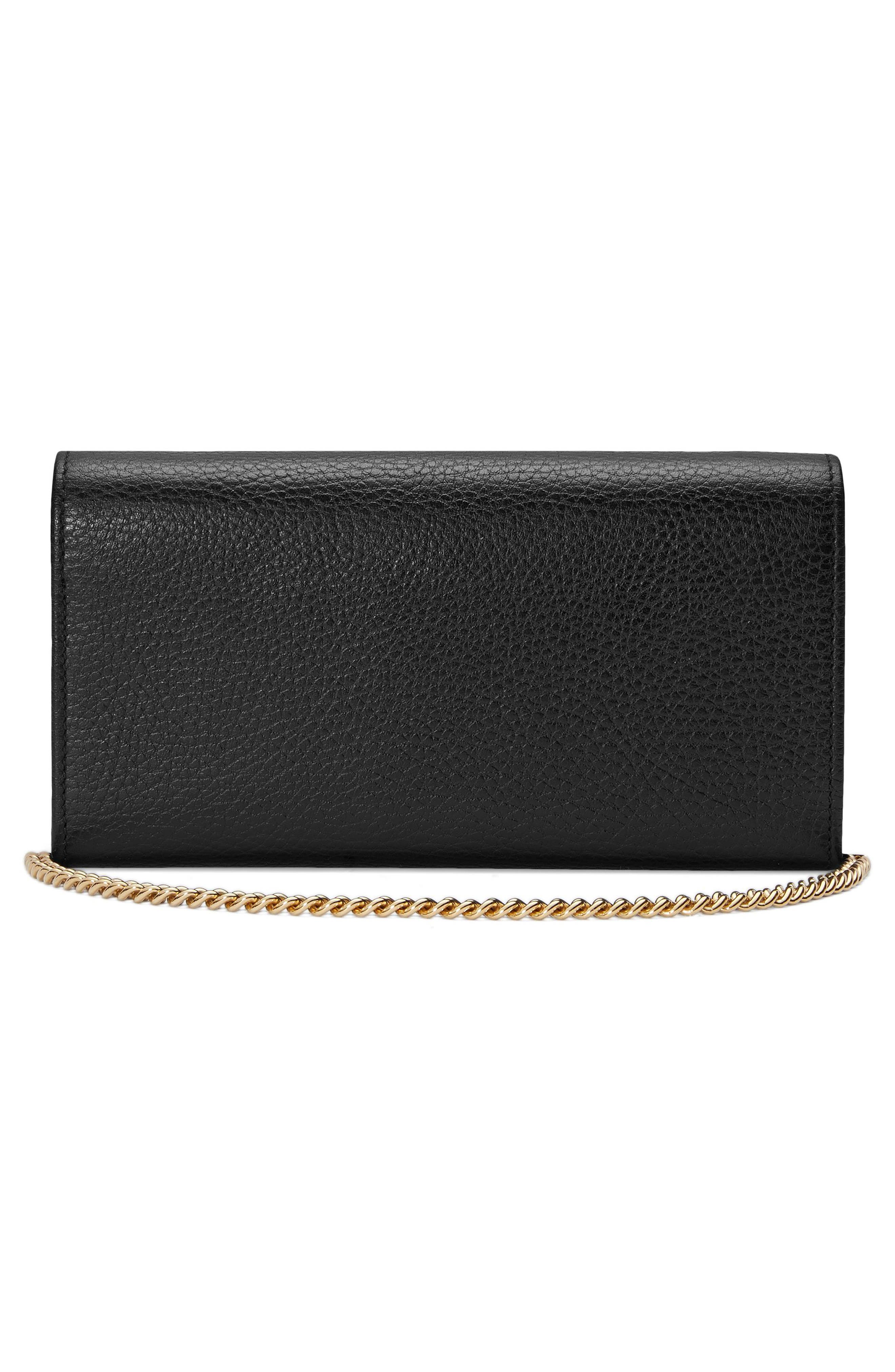 Petite Marmont Leather Continental Wallet on a Chain,                             Alternate thumbnail 2, color,                             NERO