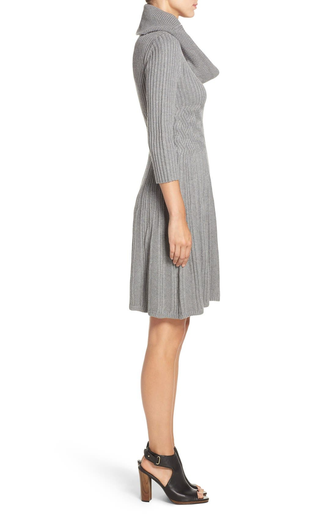 Fit & Flare Sweater Dress,                             Alternate thumbnail 3, color,                             030