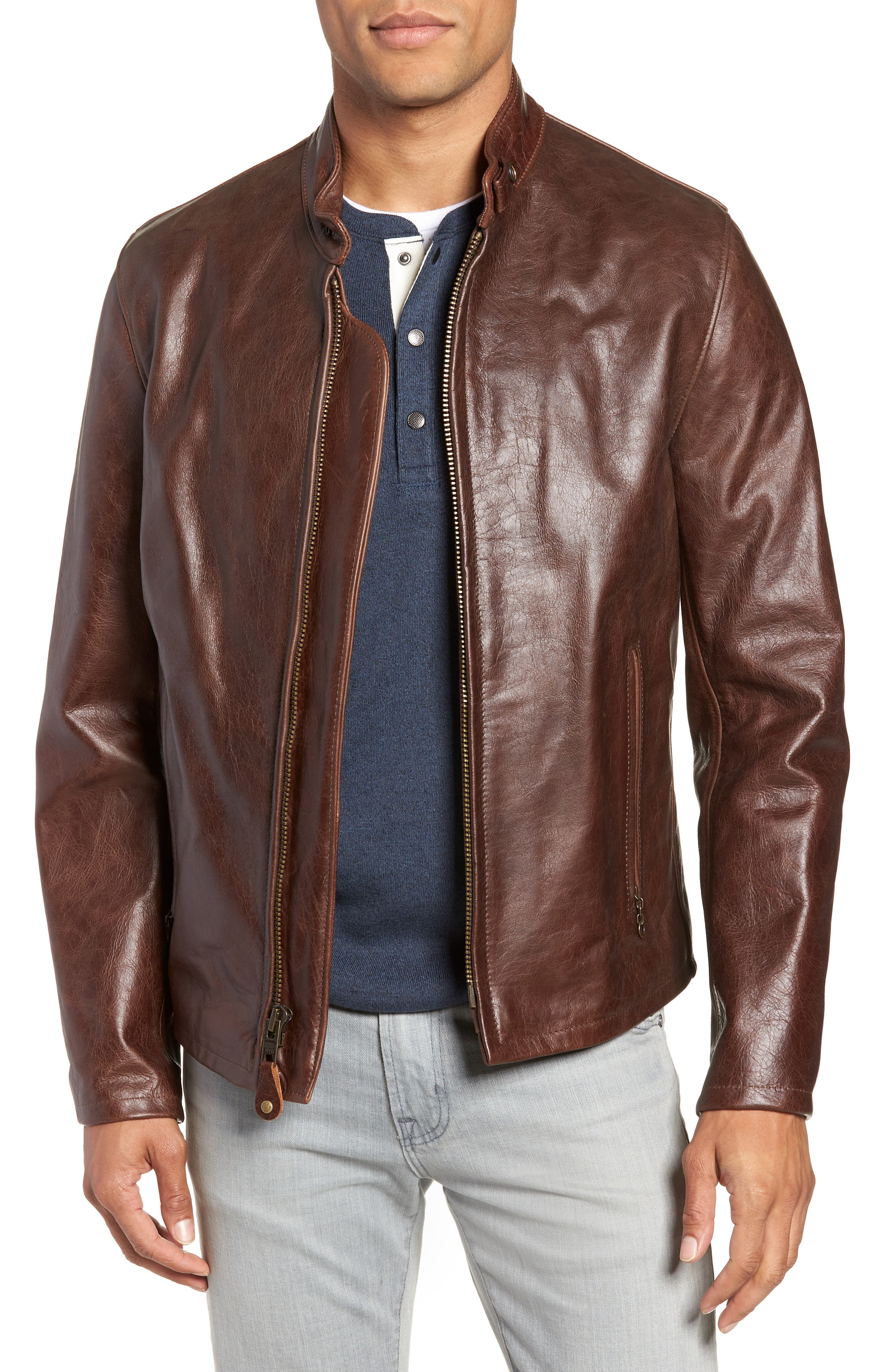 Café Racer Waxy Cowhide Leather Jacket,                             Alternate thumbnail 2, color,                             BROWN