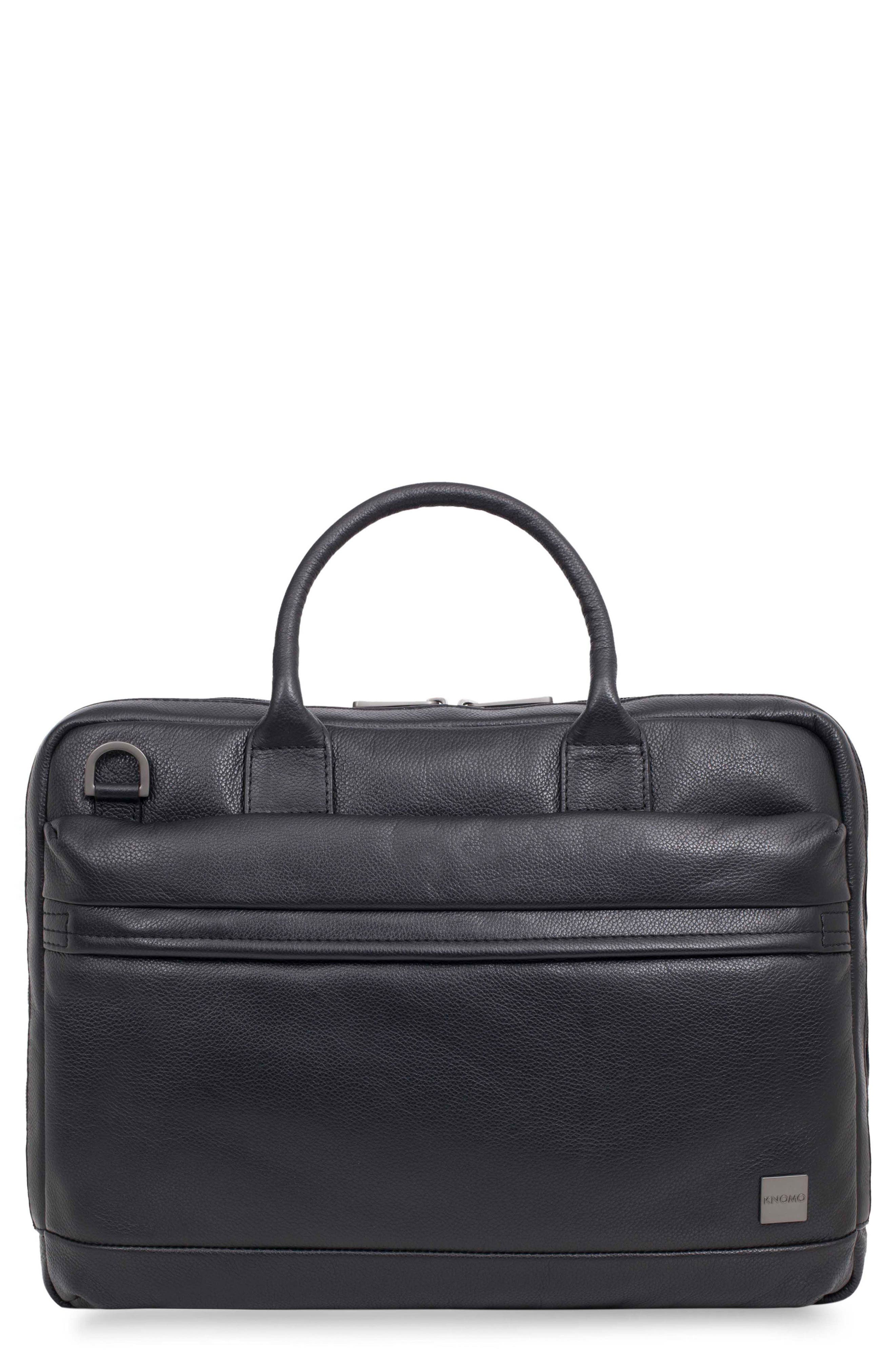 Barbican Foster Leather Briefcase,                             Main thumbnail 1, color,                             BLACK