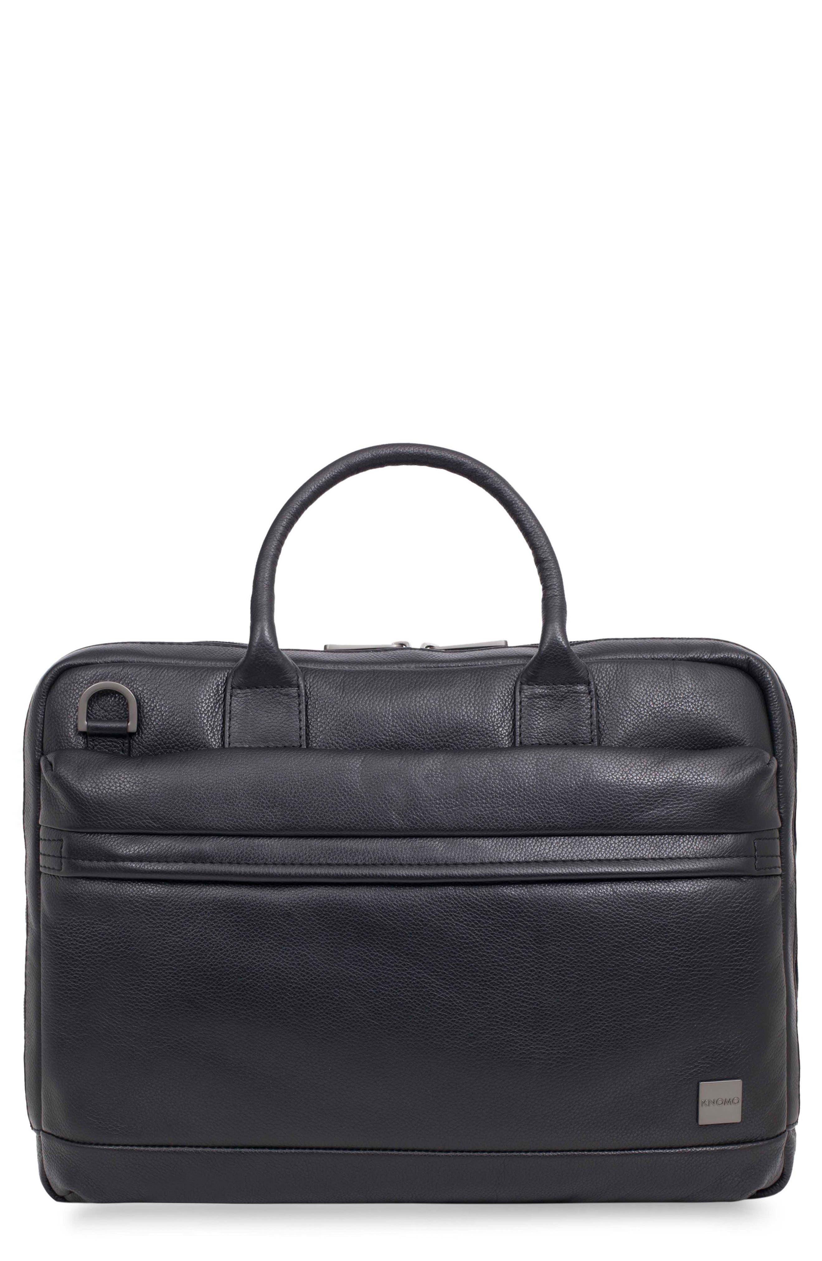 Barbican Foster Leather Briefcase,                         Main,                         color, BLACK