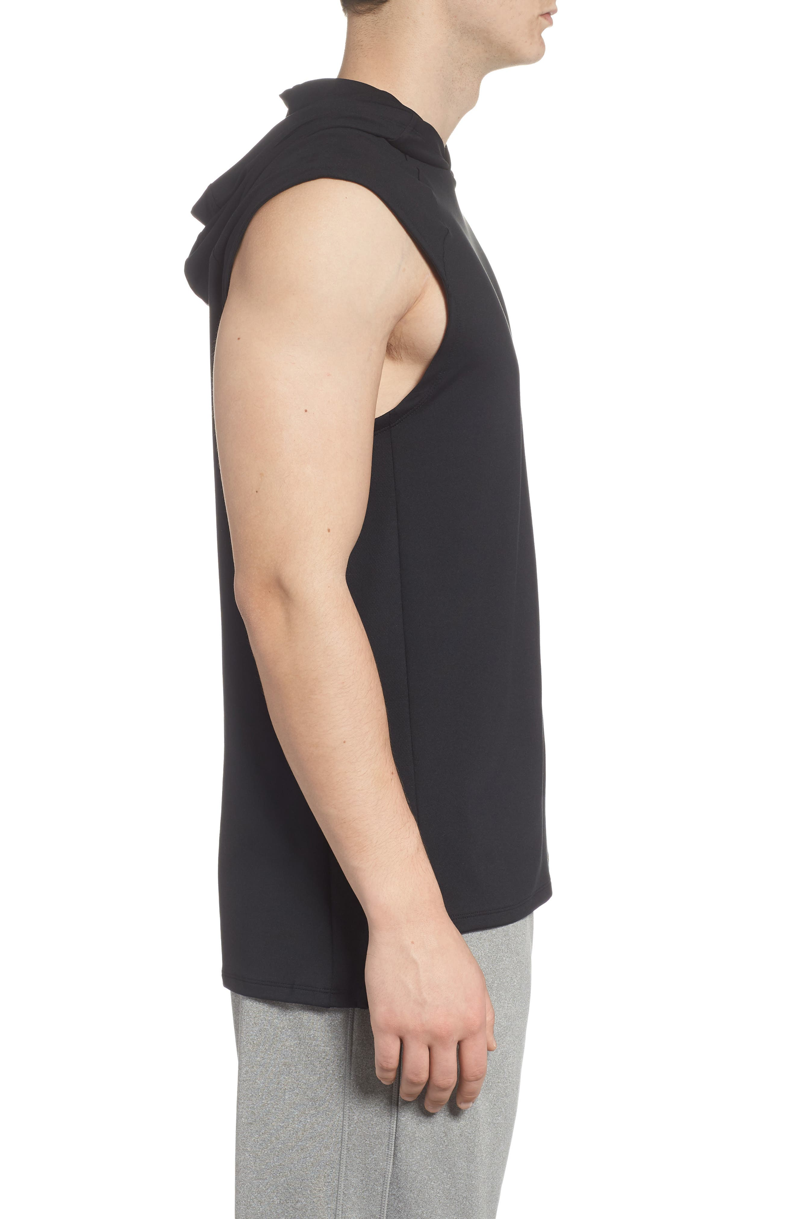 Dry Element Sleeveless Hoodie,                             Alternate thumbnail 3, color,                             BLACK