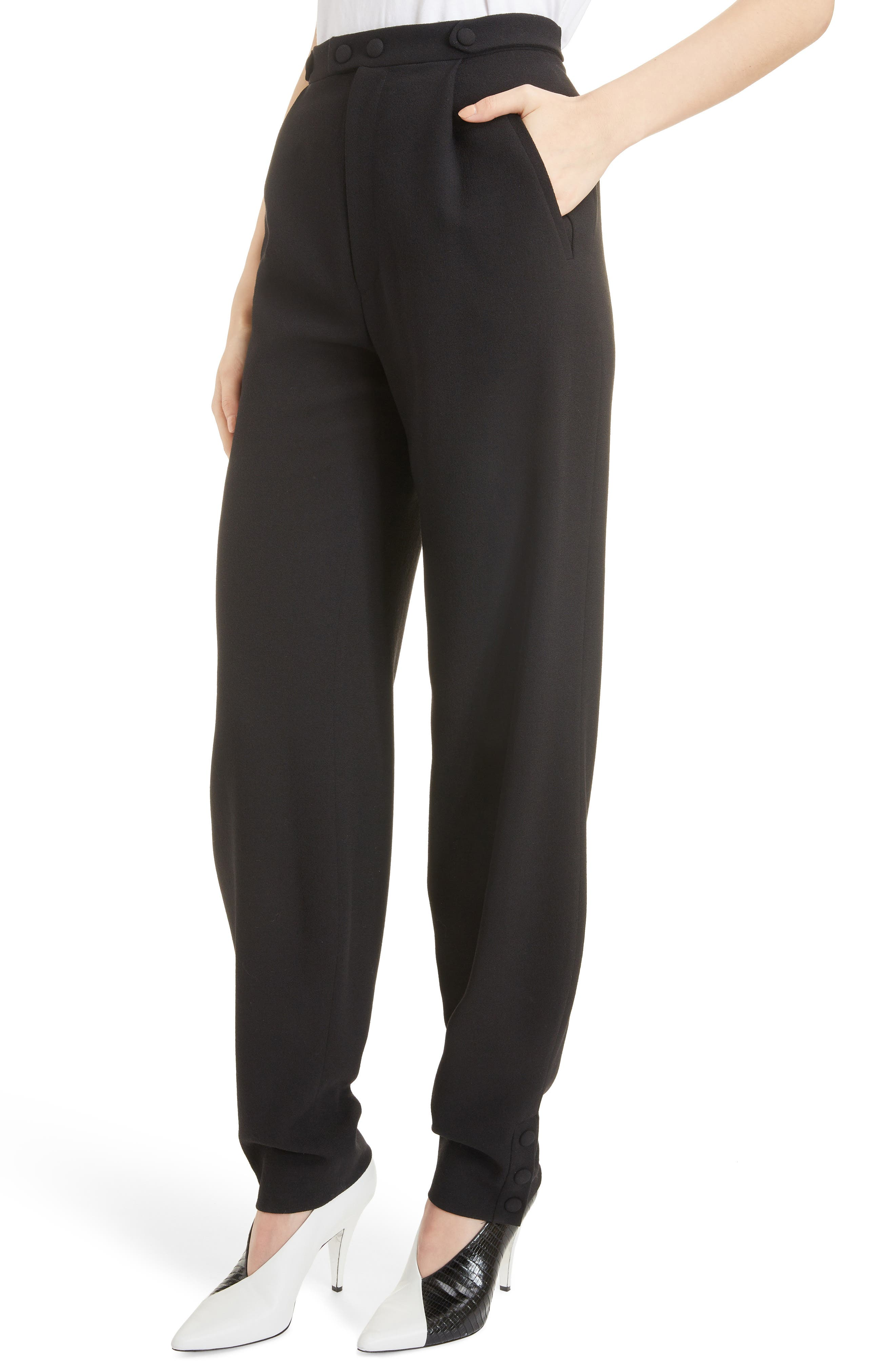 Button Detail Wool Trousers,                             Alternate thumbnail 4, color,                             BLACK