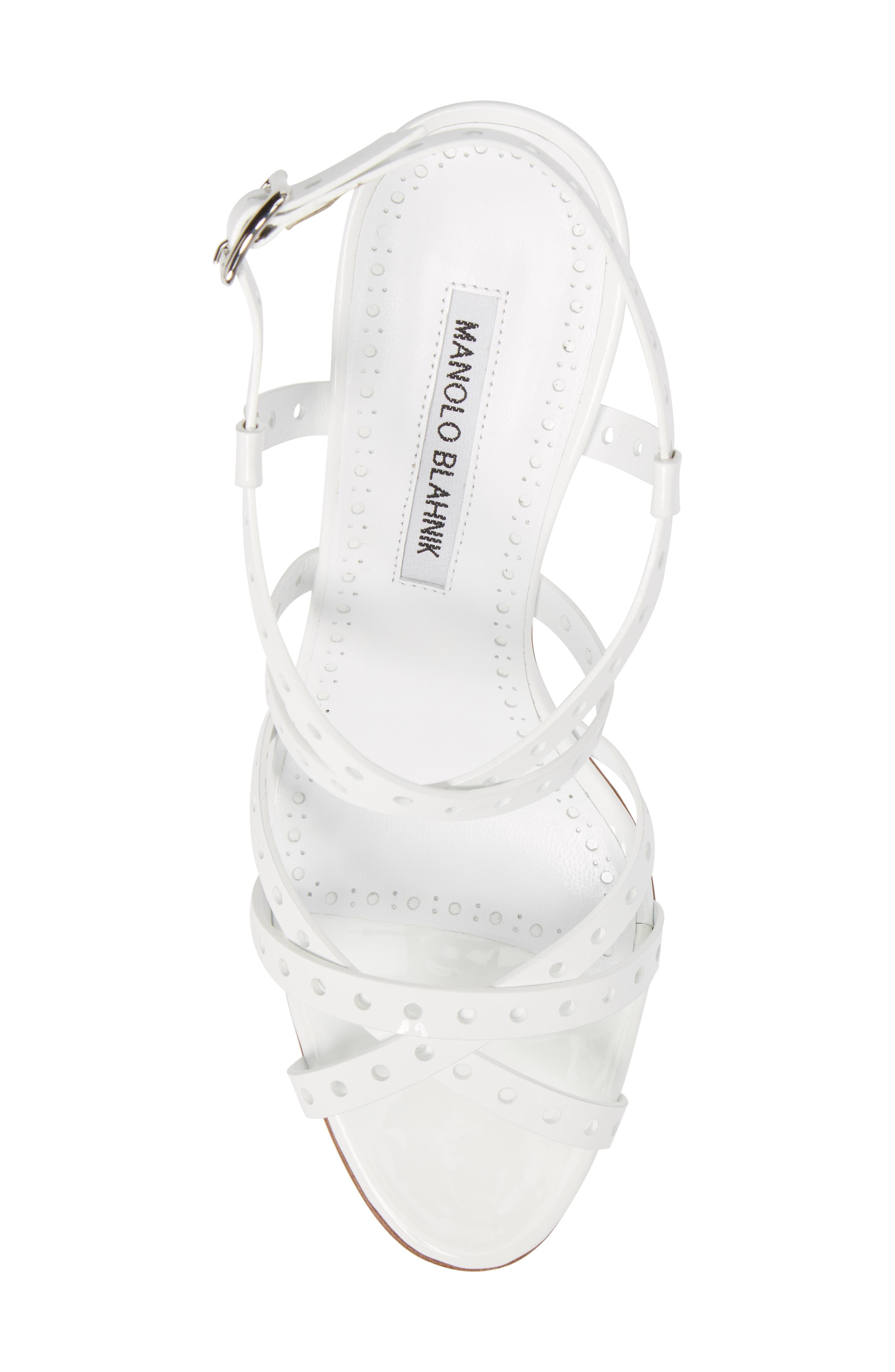 Demure Perforated Strappy Sandal,                             Alternate thumbnail 5, color,                             100