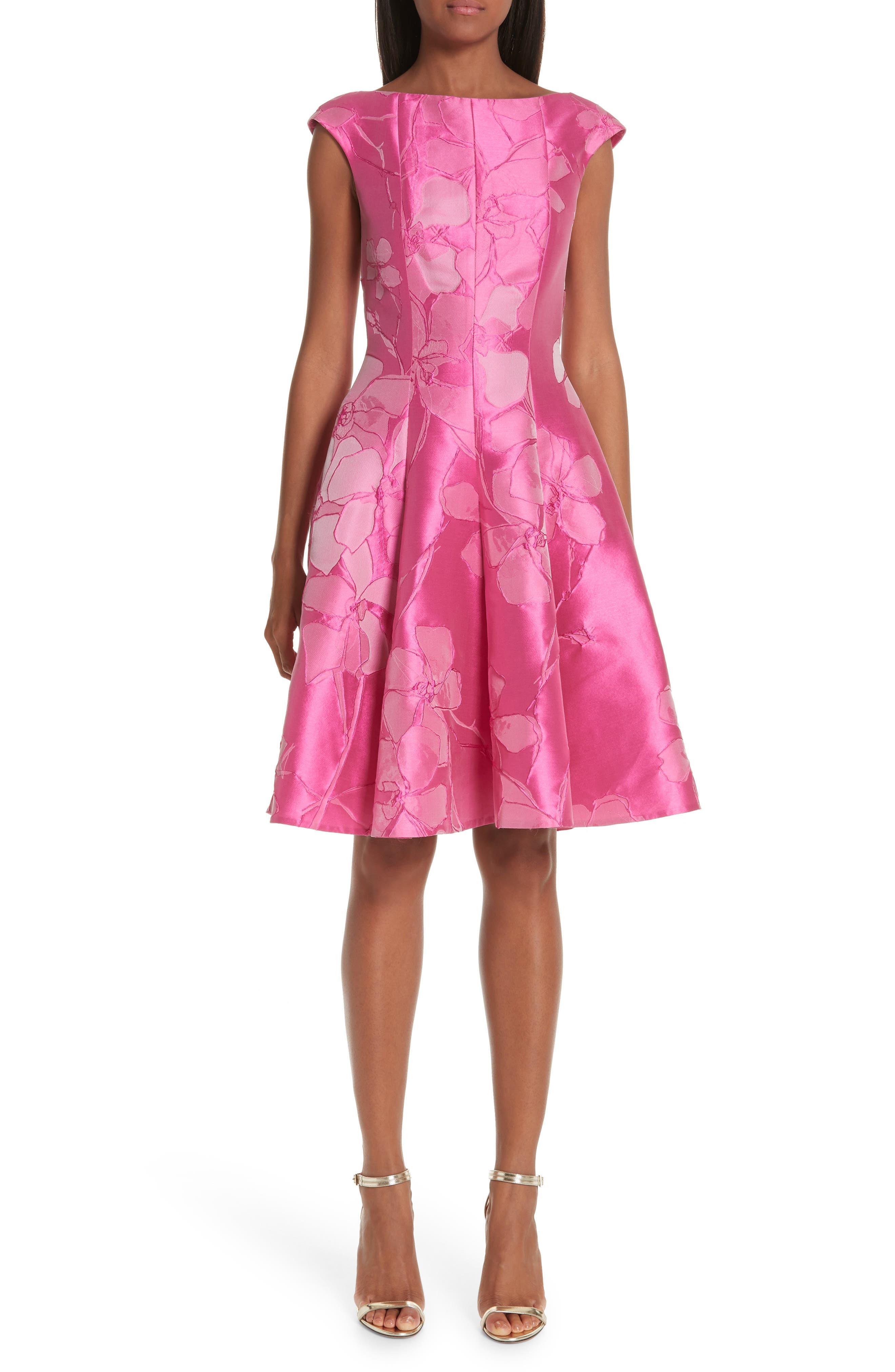 Talbot Runhof Floral Cocktail Dress, Pink