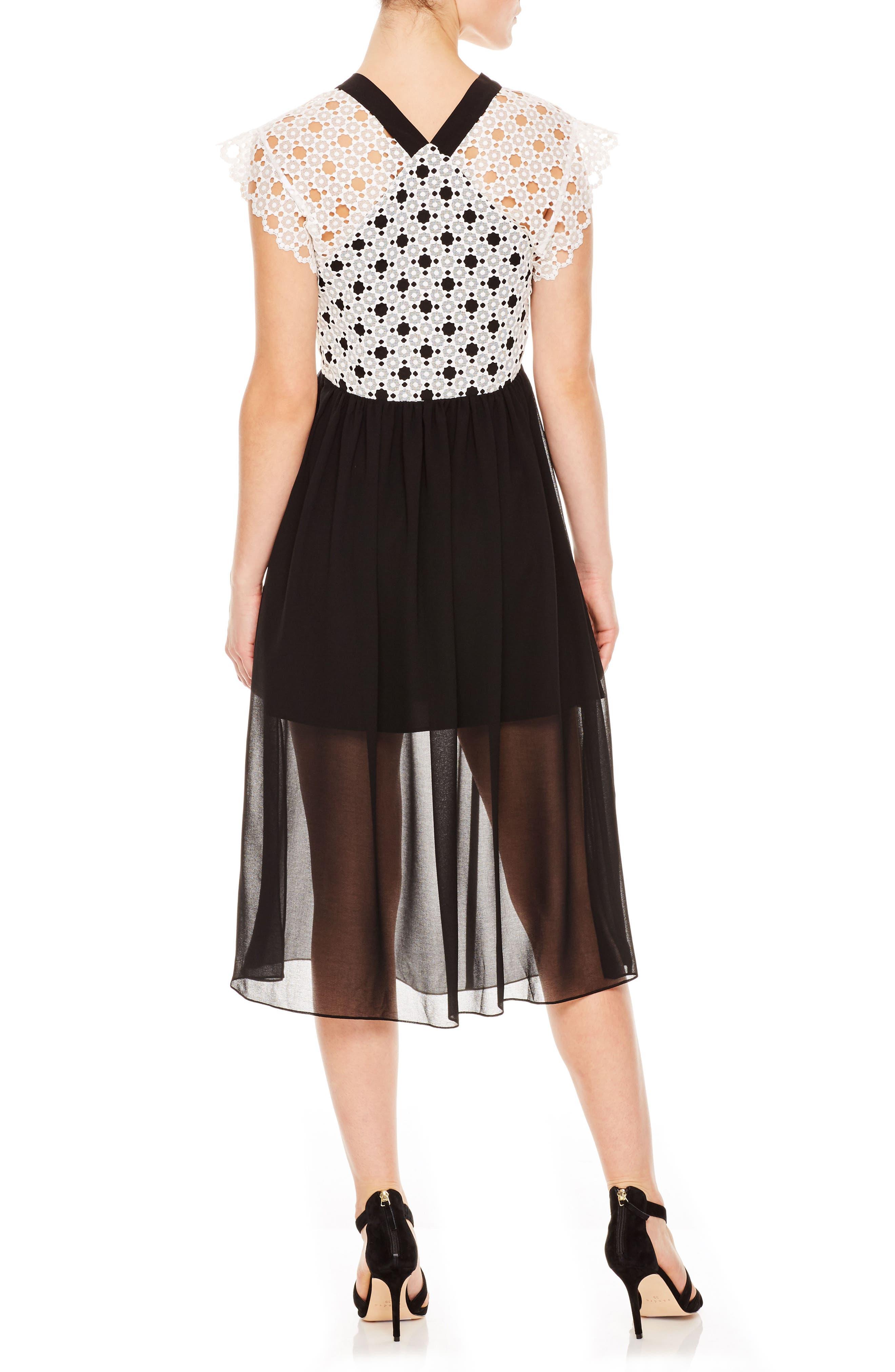 Lace & Chiffon Midi Dress,                             Alternate thumbnail 2, color,                             001