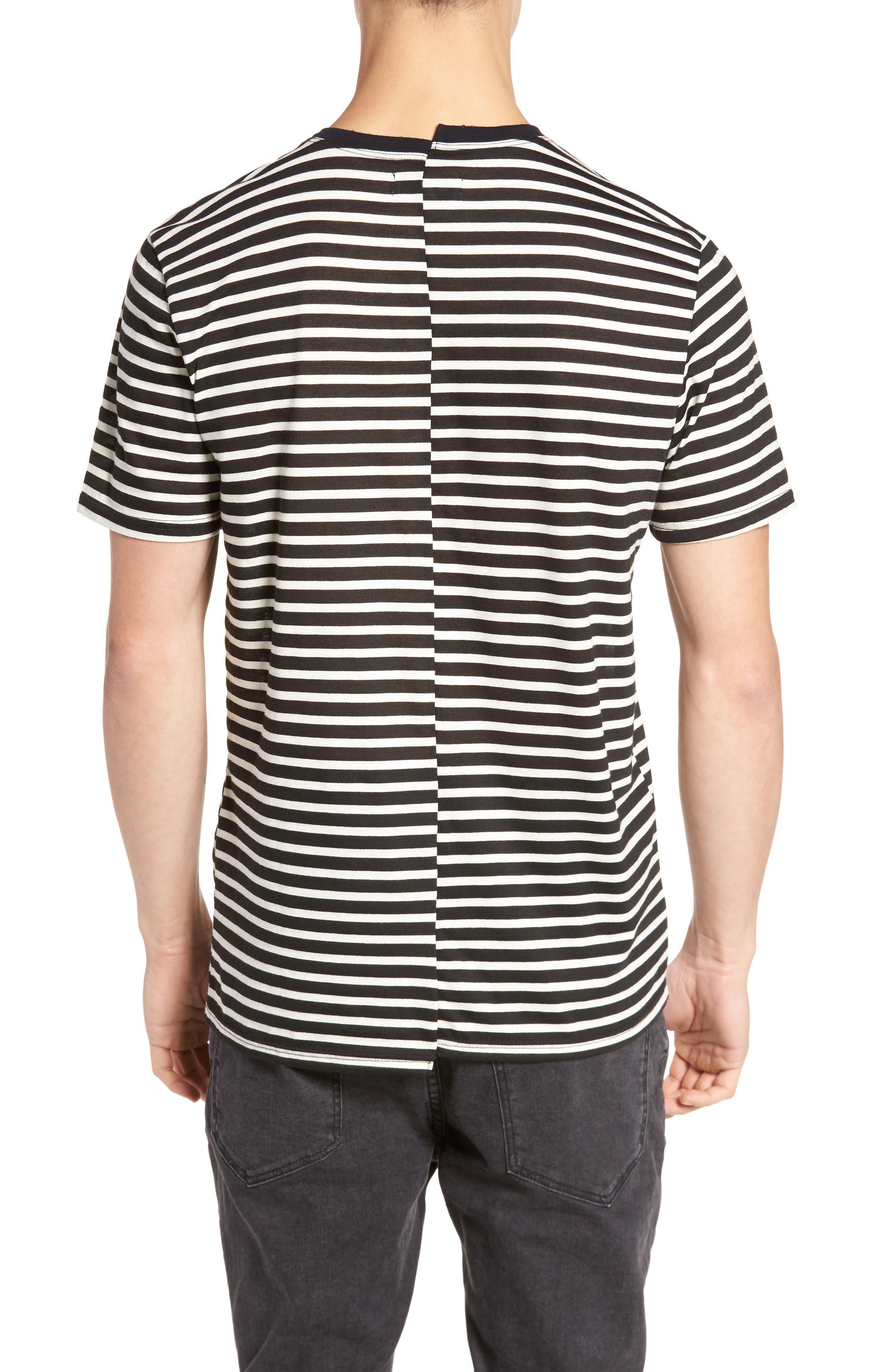 Spliced Stripe T-Shirt,                             Alternate thumbnail 2, color,                             001