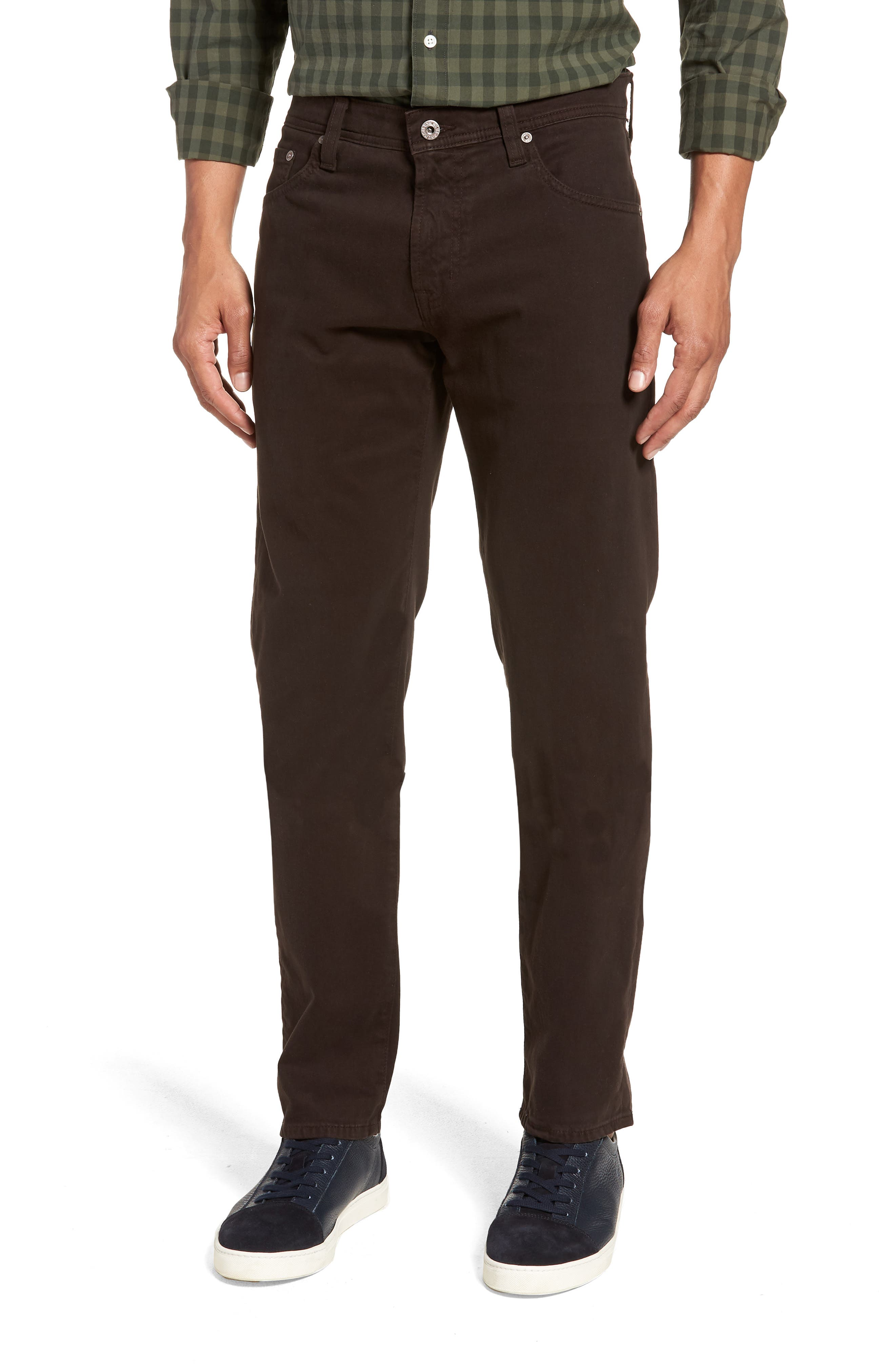Tellis SUD Modern Slim Stretch Twill Pants,                             Main thumbnail 1, color,                             SHUTTER BROWN