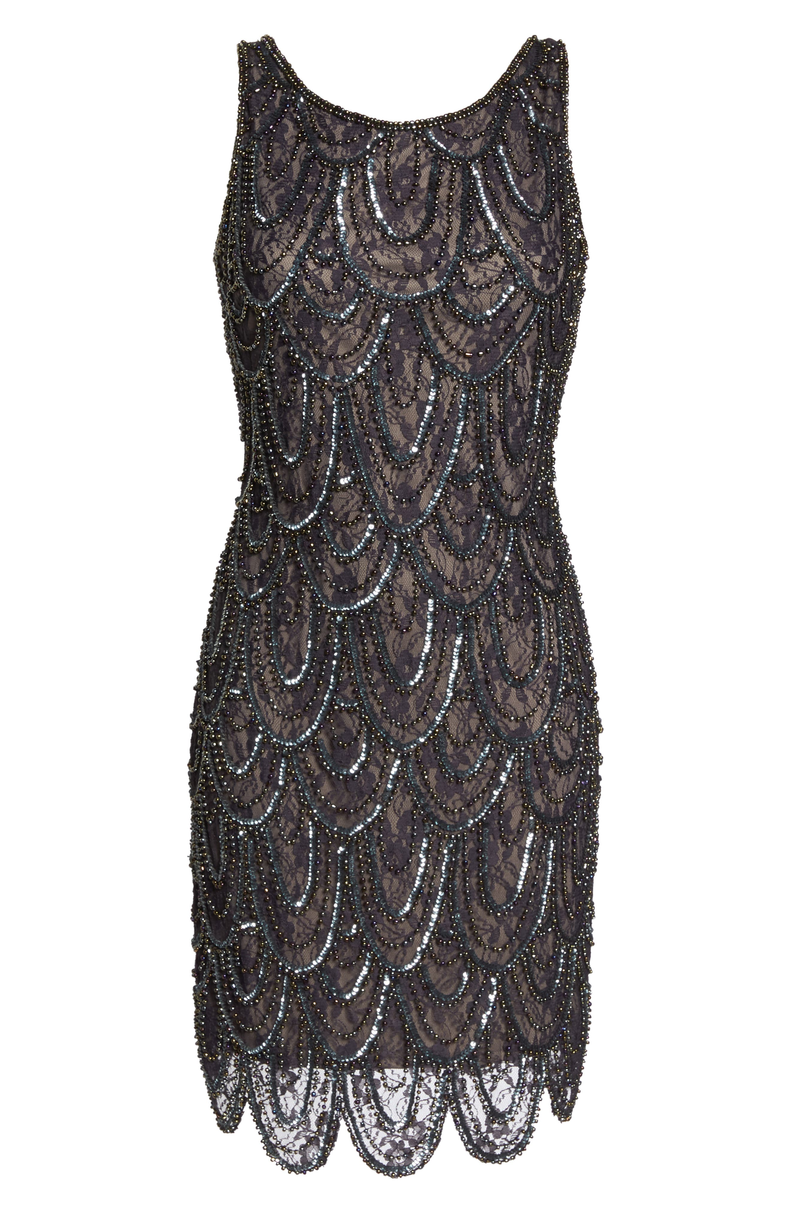Beaded Lace Sheath Dress,                             Alternate thumbnail 7, color,                             SUEDE