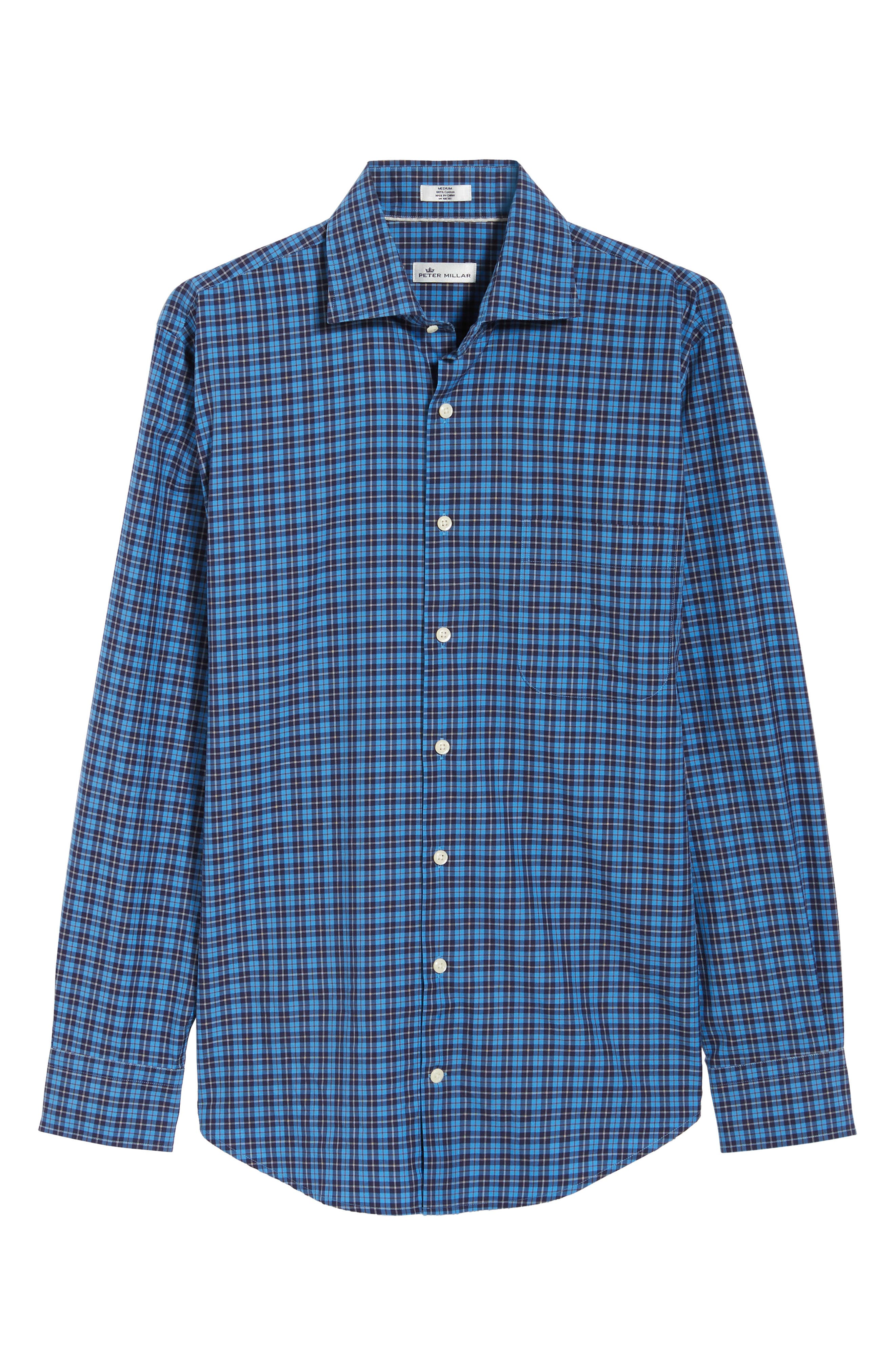 Northgate Plaid Sport Shirt,                             Alternate thumbnail 5, color,                             MARINA BLUE