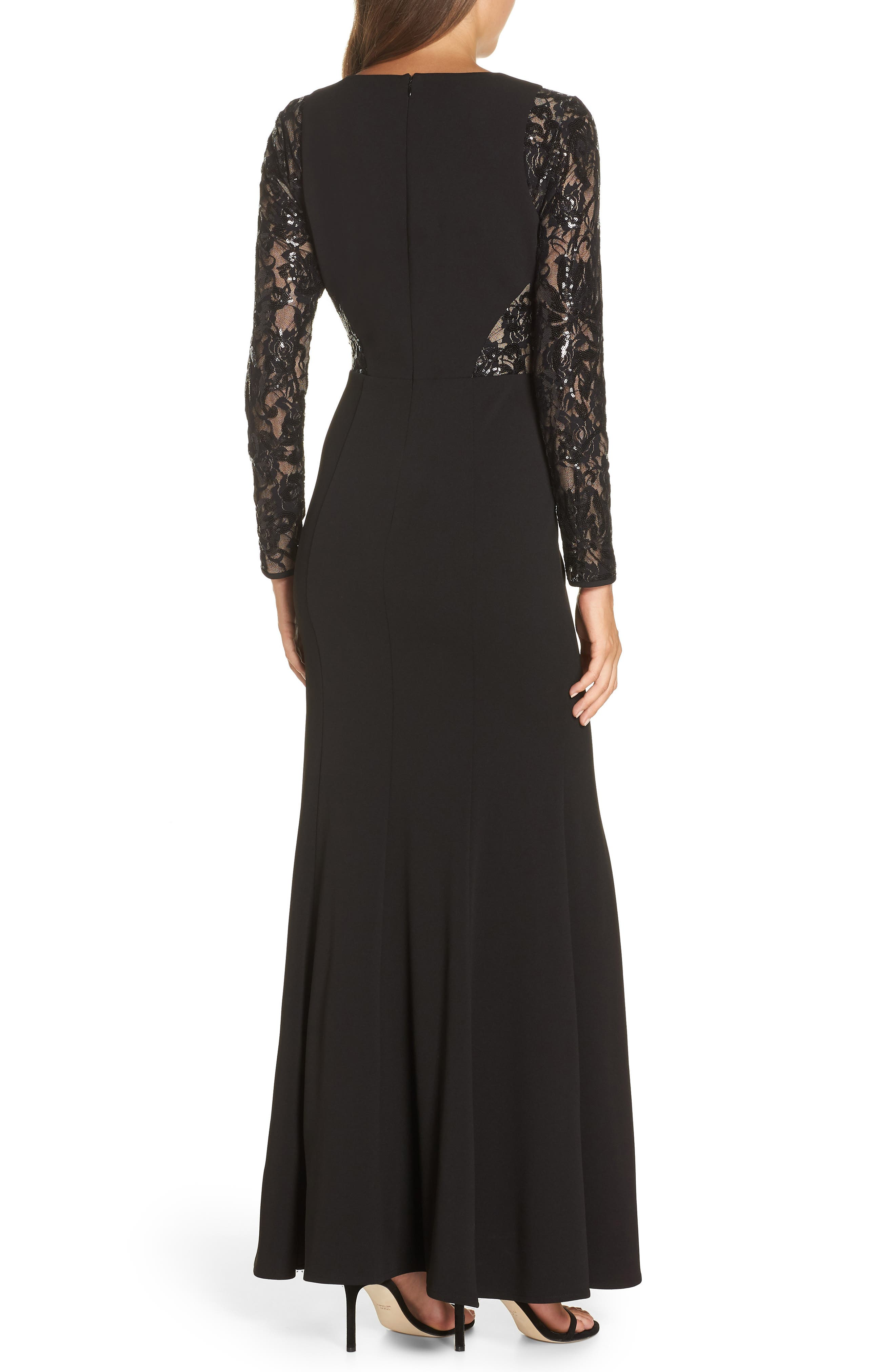 Embellished Lace Gown,                             Alternate thumbnail 2, color,                             BLACK