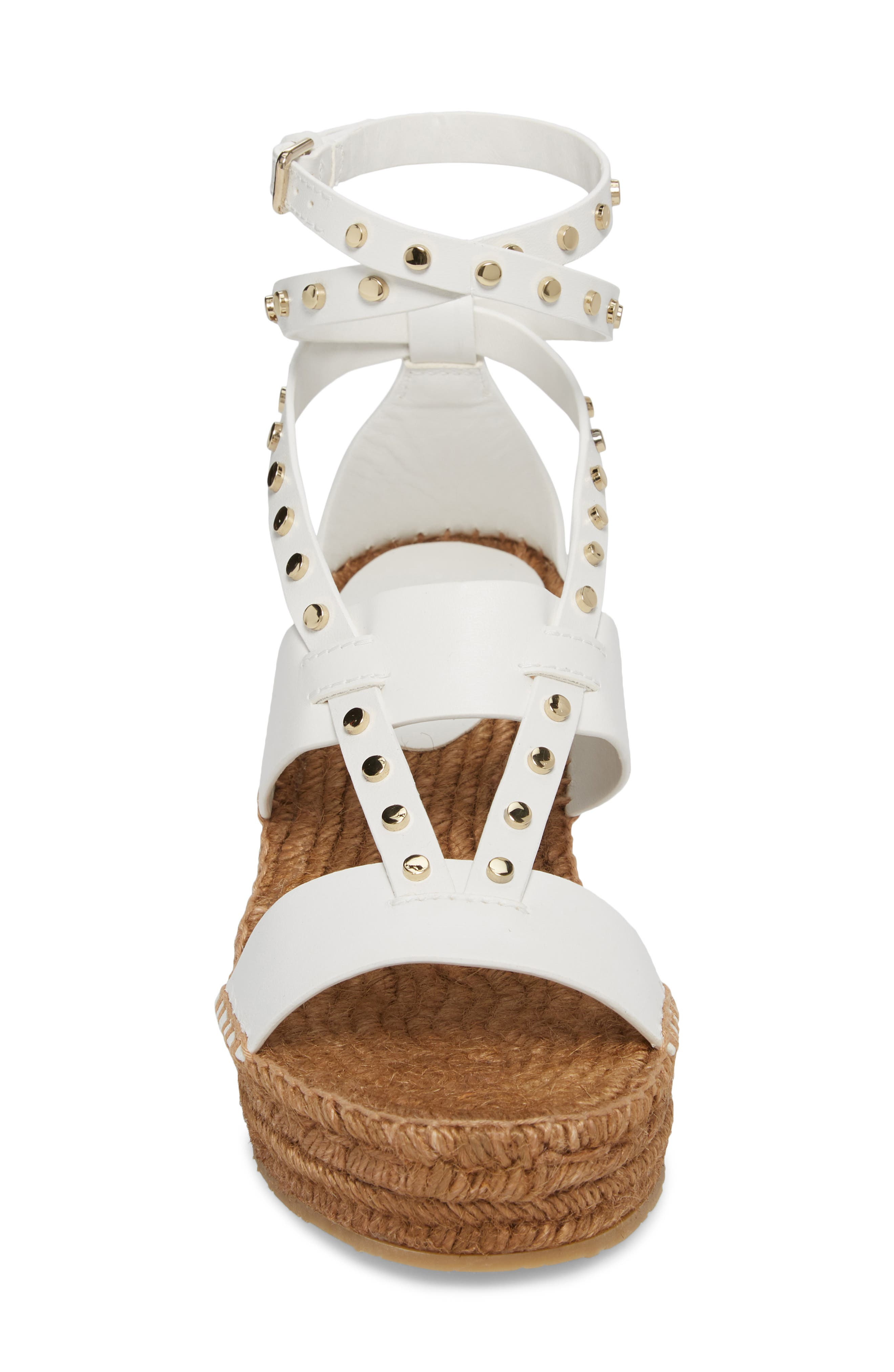Danica Studded Wedge Espadrille,                             Alternate thumbnail 4, color,                             WHITE