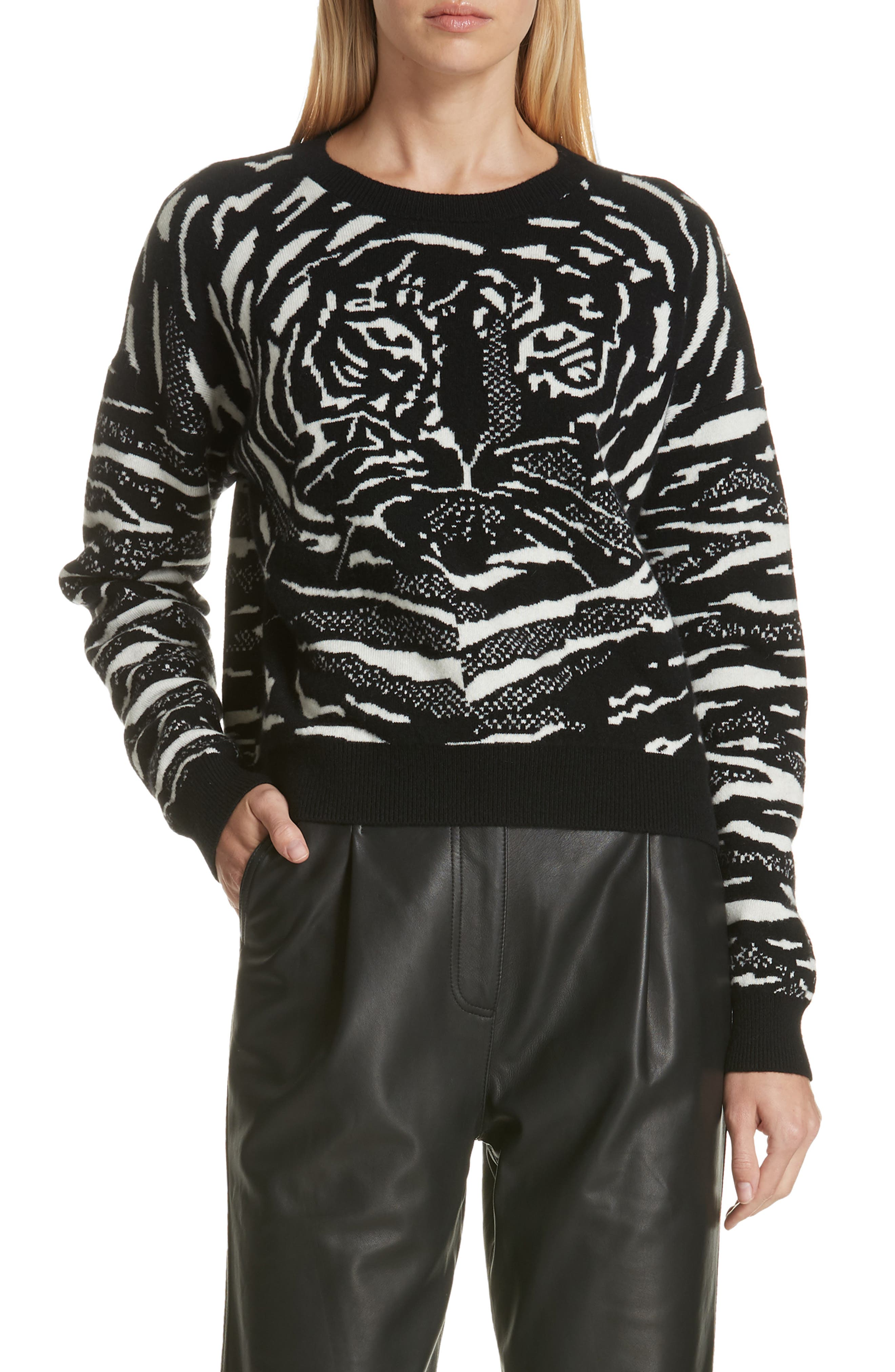 Wool & Cashmere Sweater,                             Main thumbnail 1, color,                             BLACK/ WHITE