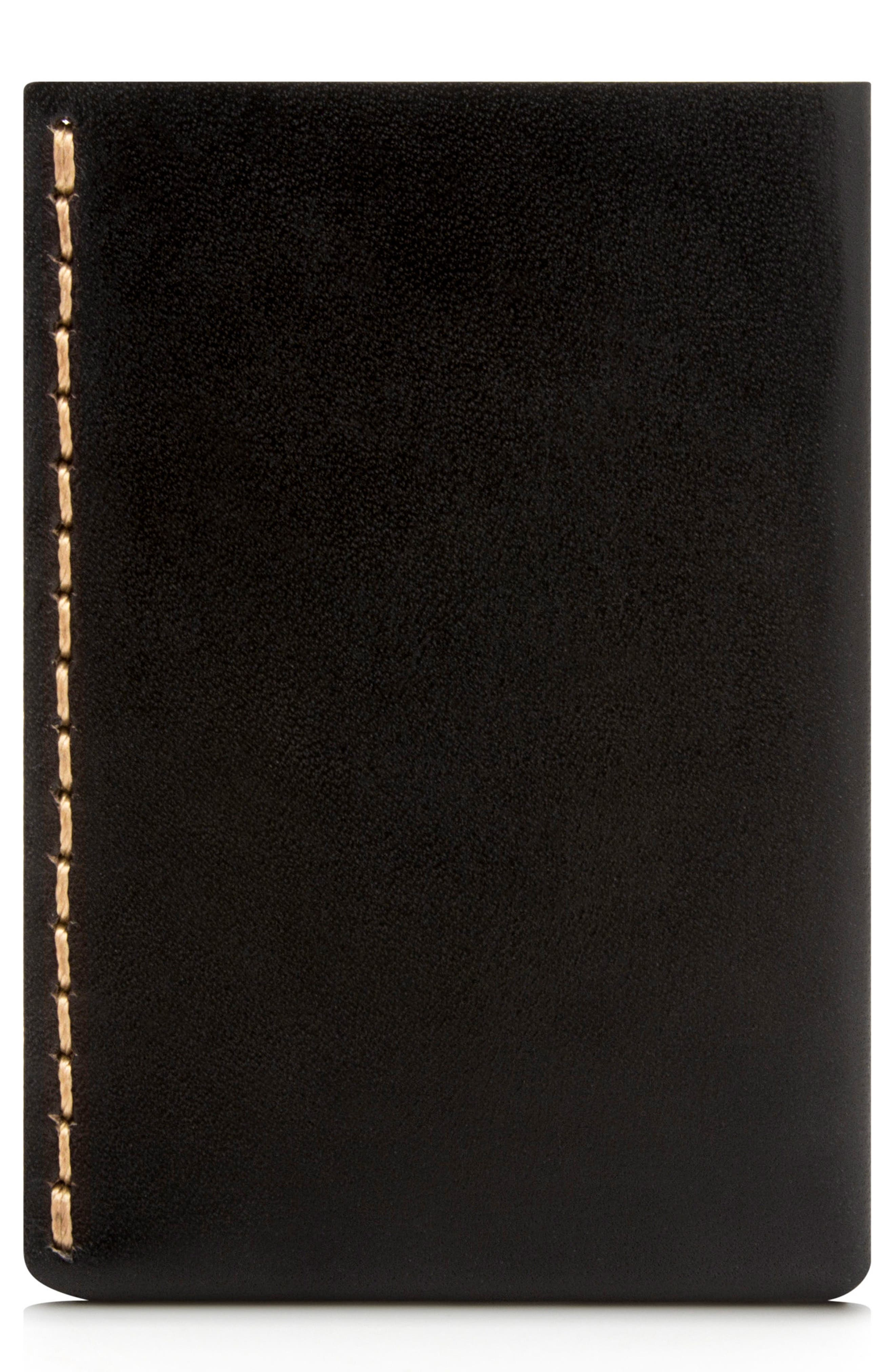 No. 7 Leather Wallet,                         Main,                         color, JET TOP STITCH
