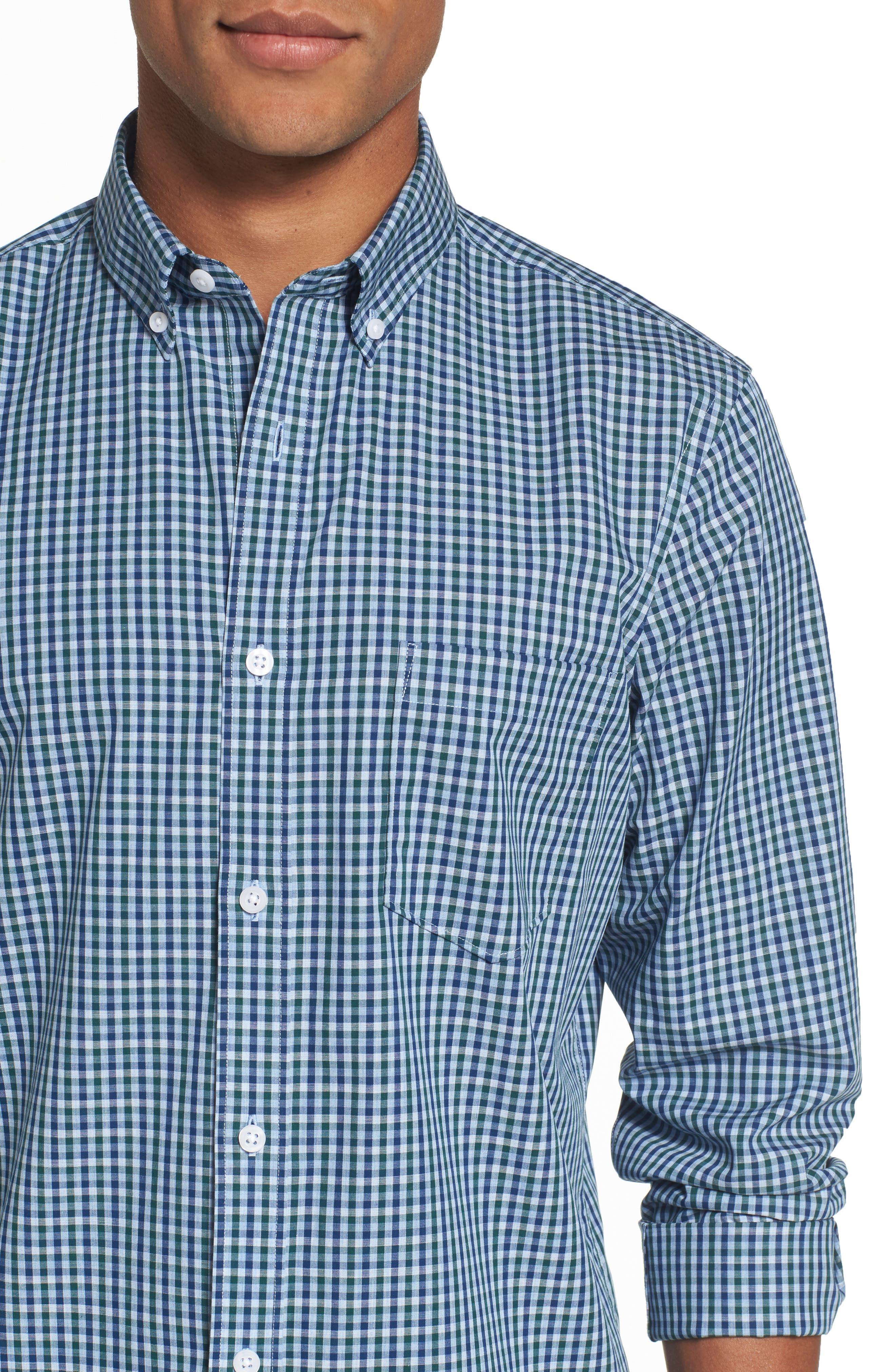 Regular Fit Non-Iron Mini Check Sport Shirt,                             Alternate thumbnail 4, color,                             310