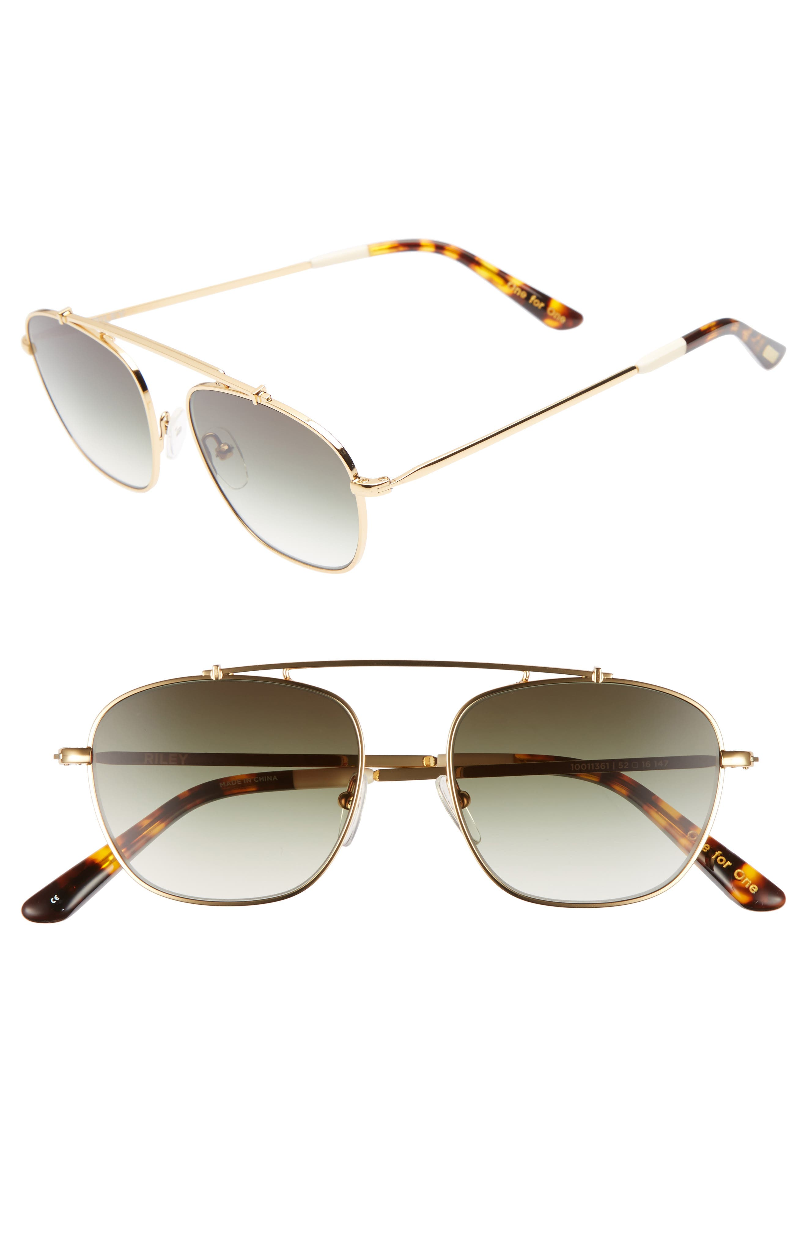 Riley 52mm Sunglasses,                             Main thumbnail 1, color,                             SHINY GOLD