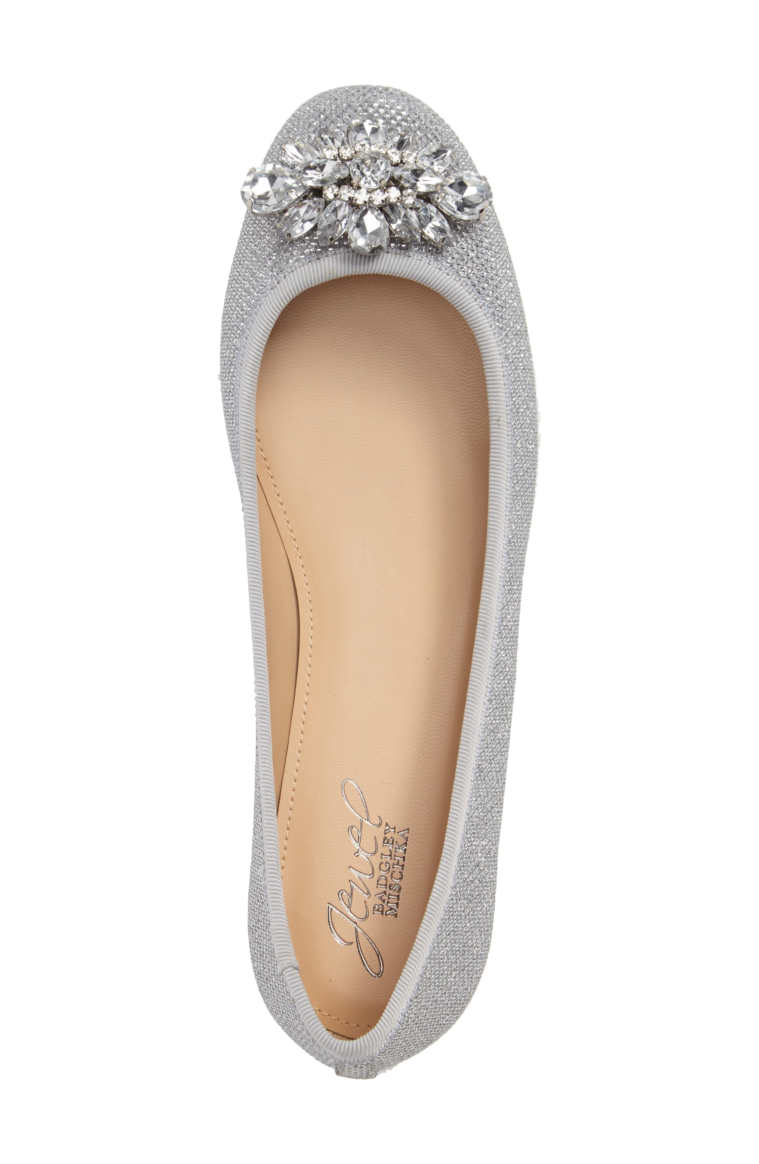Cabella Embellished Ballet Flat,                             Alternate thumbnail 3, color,                             SILVER FABRIC
