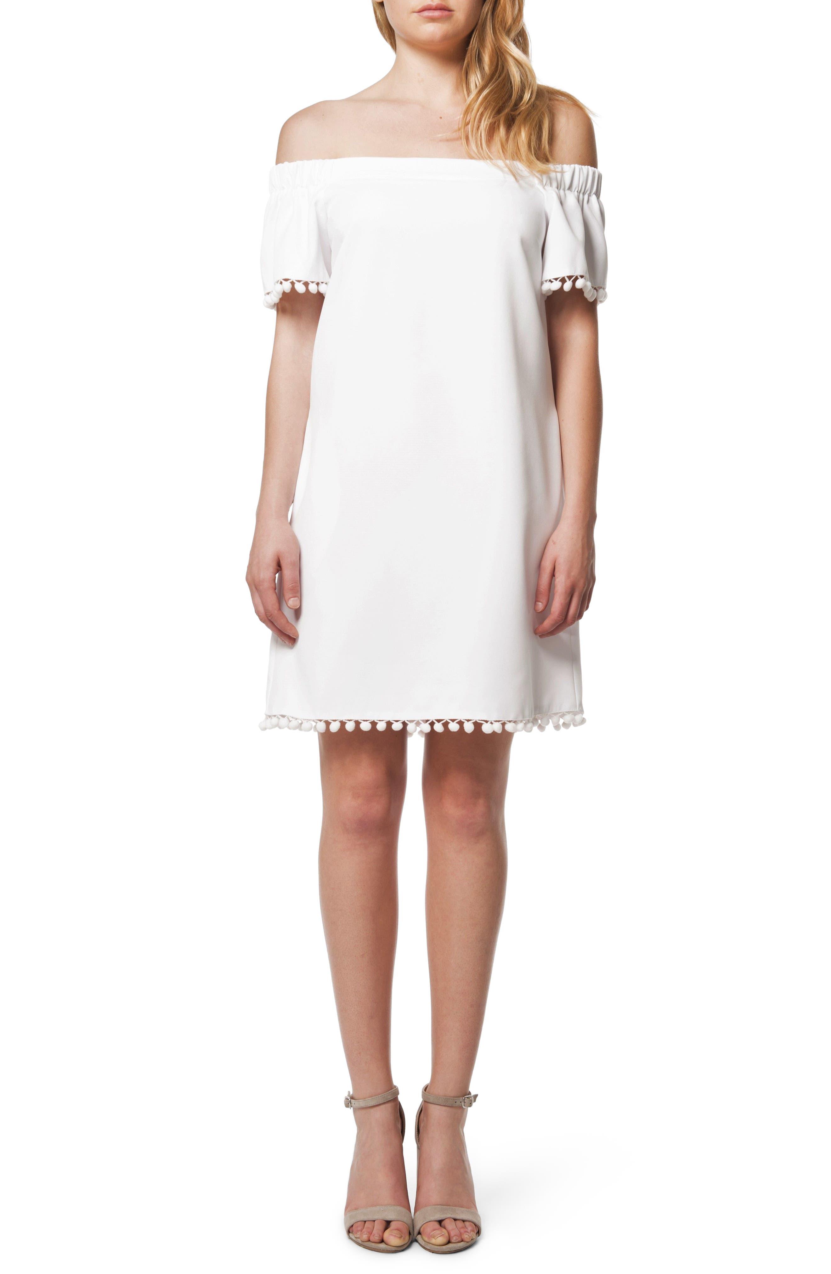 Pom Pom Off the Shoulder Dress,                             Main thumbnail 1, color,