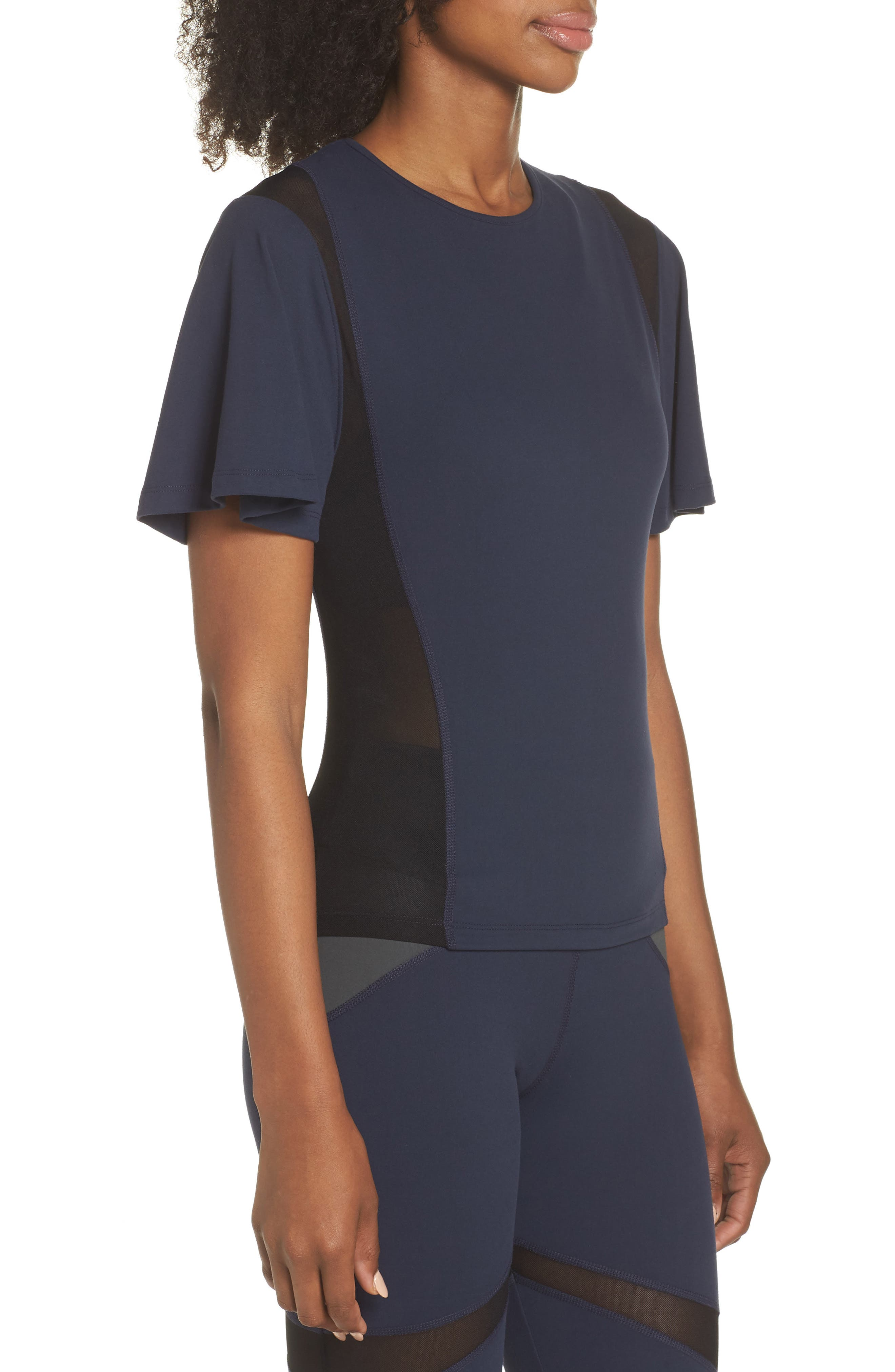 BoomBoom Athletica Wing Sleeve Tee,                             Alternate thumbnail 3, color,                             NAVY/ BLACK
