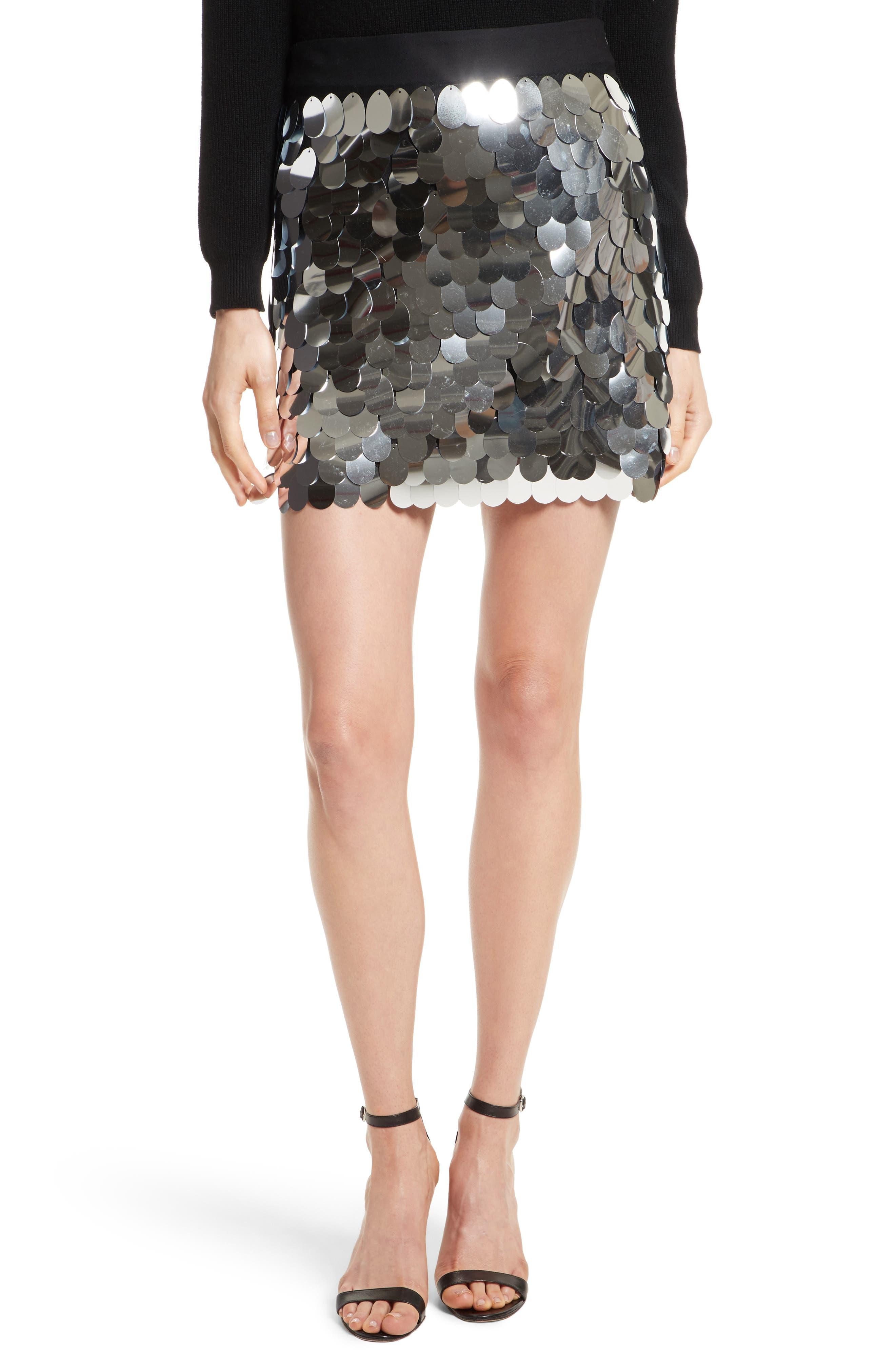 Paillette Sequin Miniskirt,                             Main thumbnail 1, color,