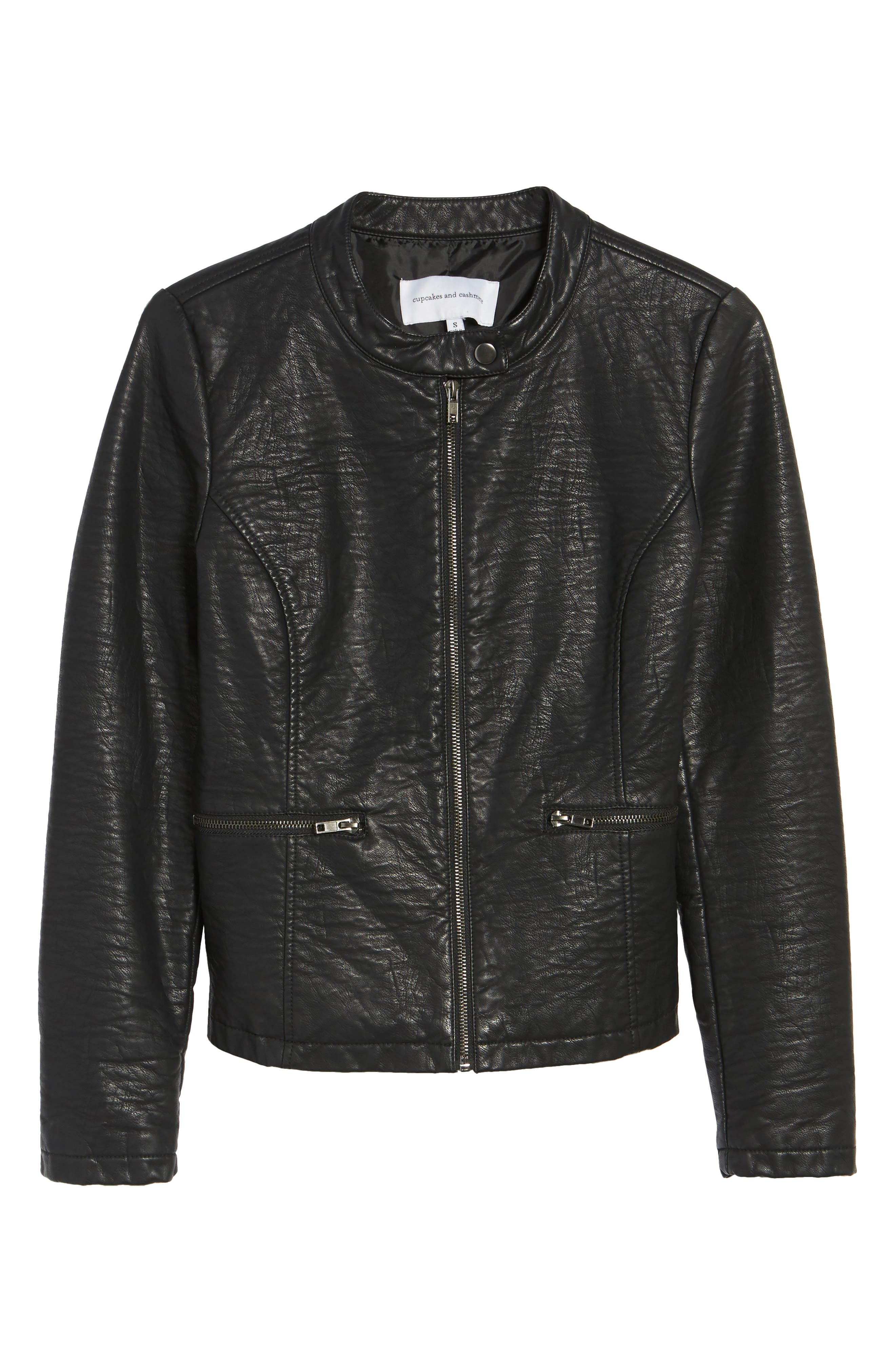 Dolly Faux Leather Jacket,                             Alternate thumbnail 5, color,                             001