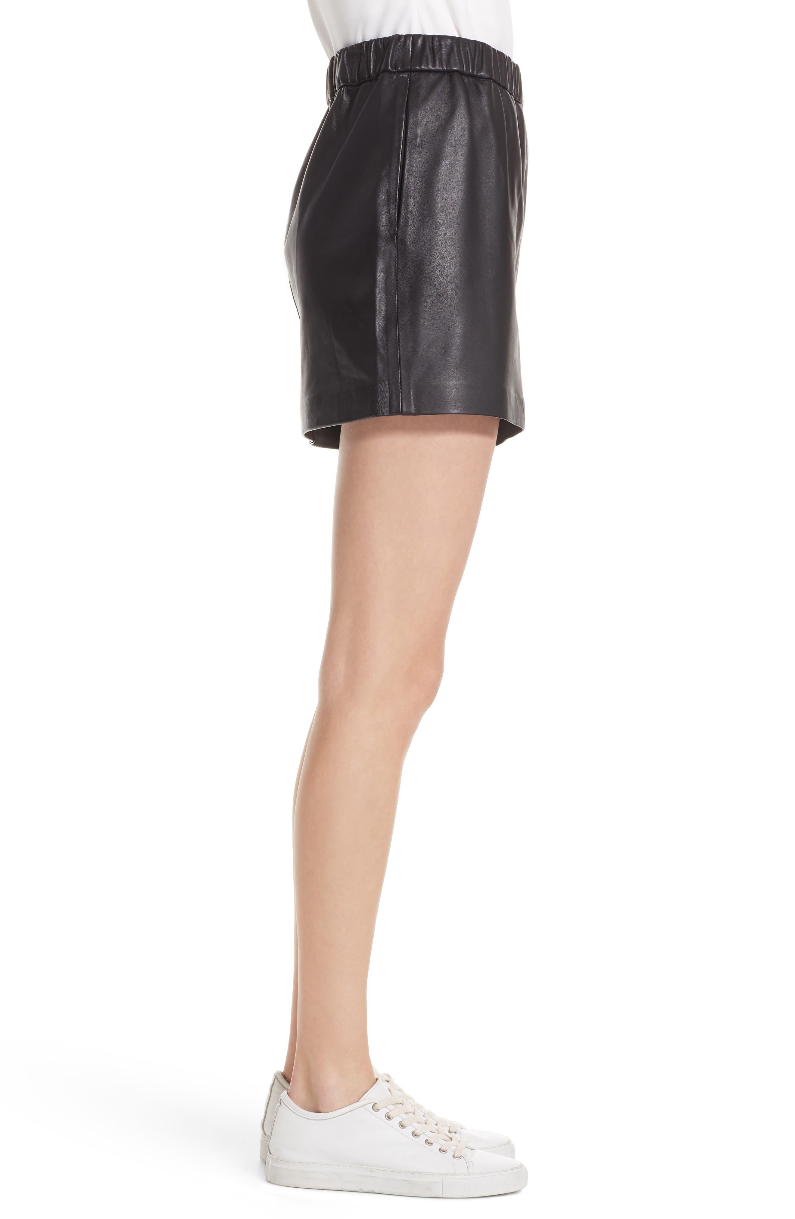 Pull-On Leather Miniskirt,                             Alternate thumbnail 3, color,                             NOIR
