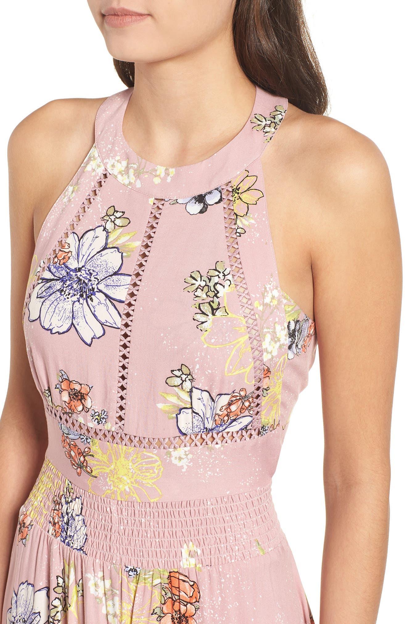 Floral Print Halter Maxi Dress,                             Alternate thumbnail 4, color,                             PINK EGRET ABSTRACT FLORAL