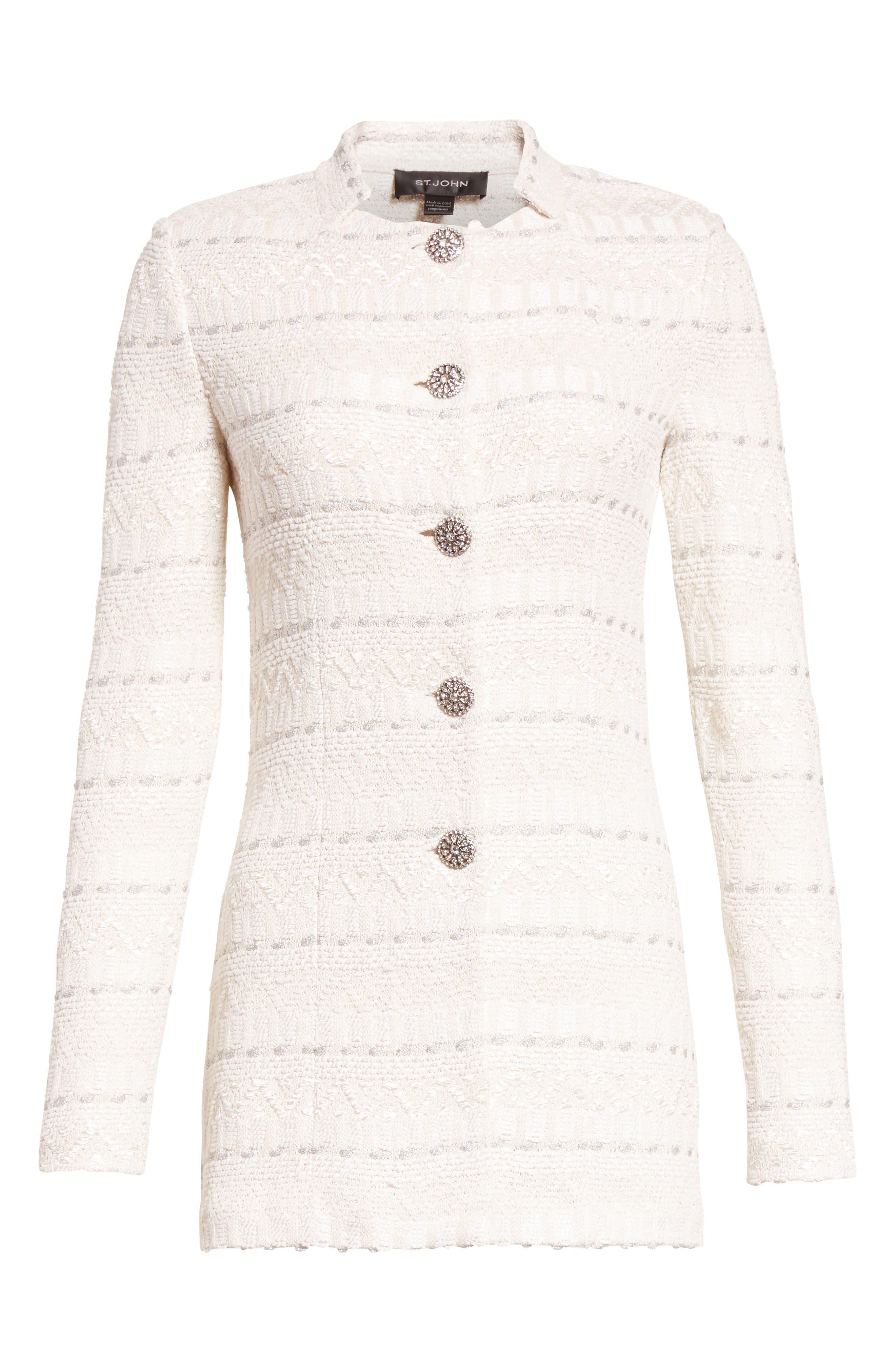 Samar Knit Tweed Jacket,                             Alternate thumbnail 5, color,                             100