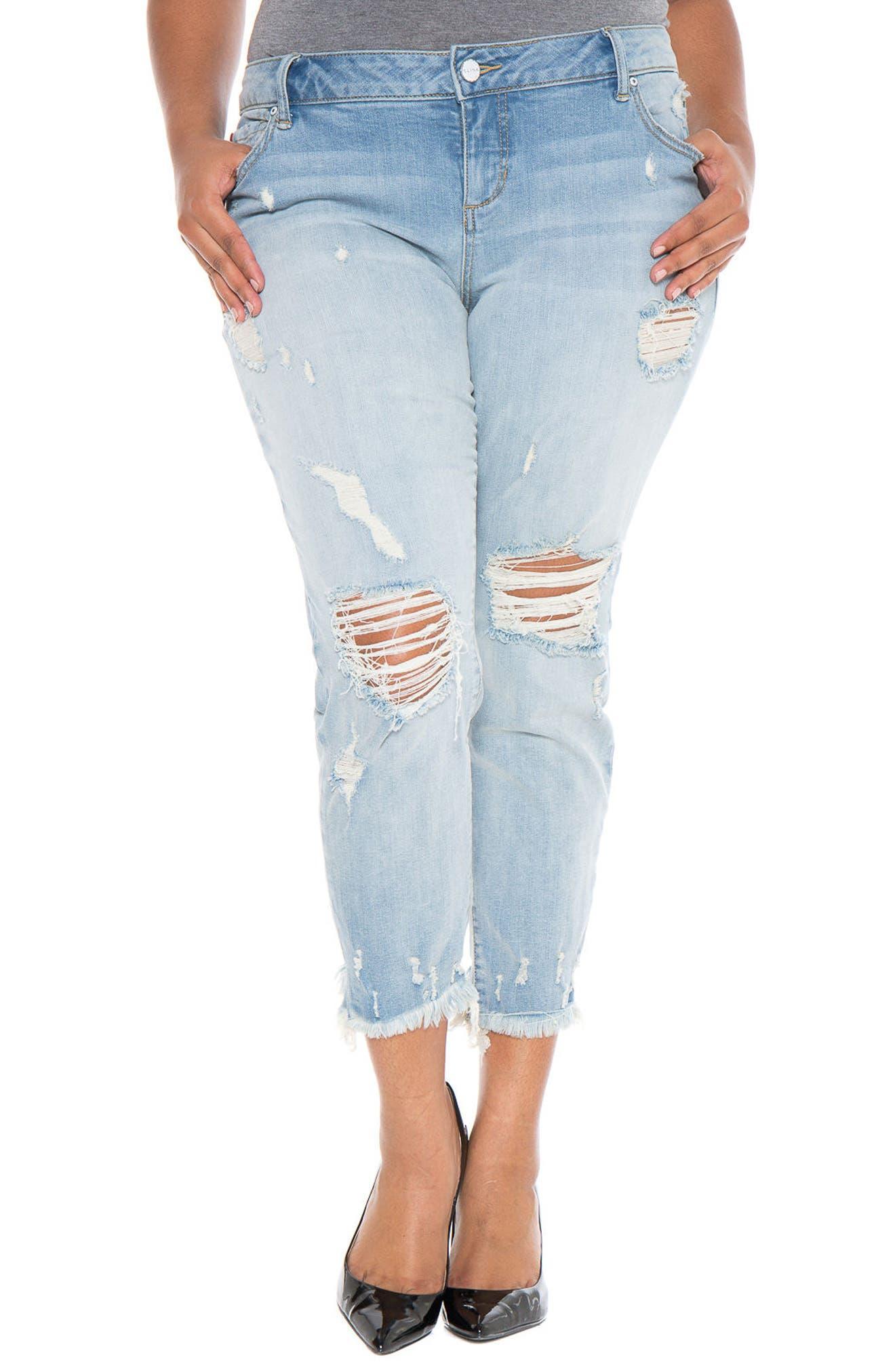 Frayed Hem Ripped Boyfriend Jeans,                             Main thumbnail 1, color,                             455