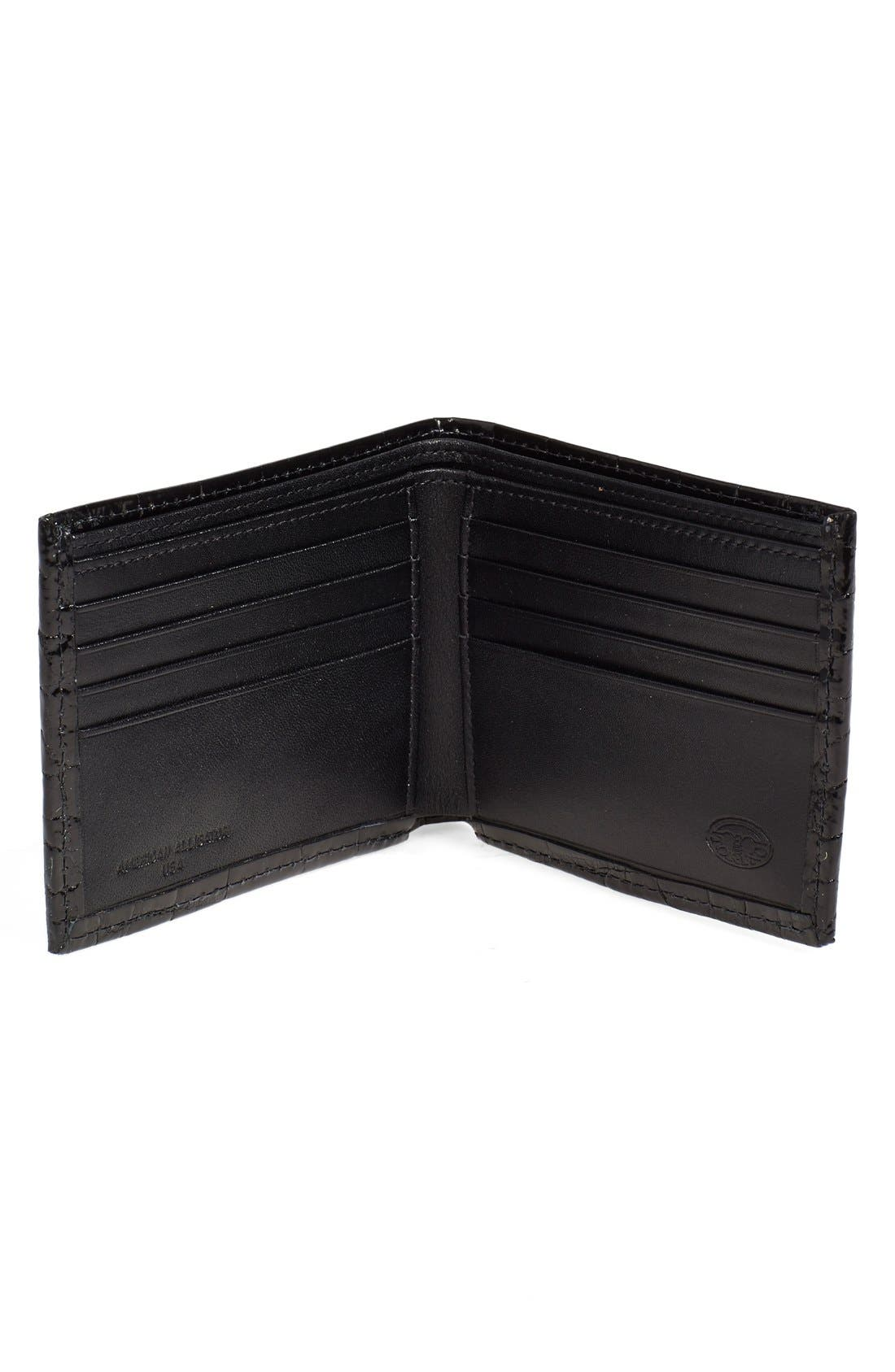 Genuine Alligator Wallet,                             Alternate thumbnail 3, color,                             BLACK