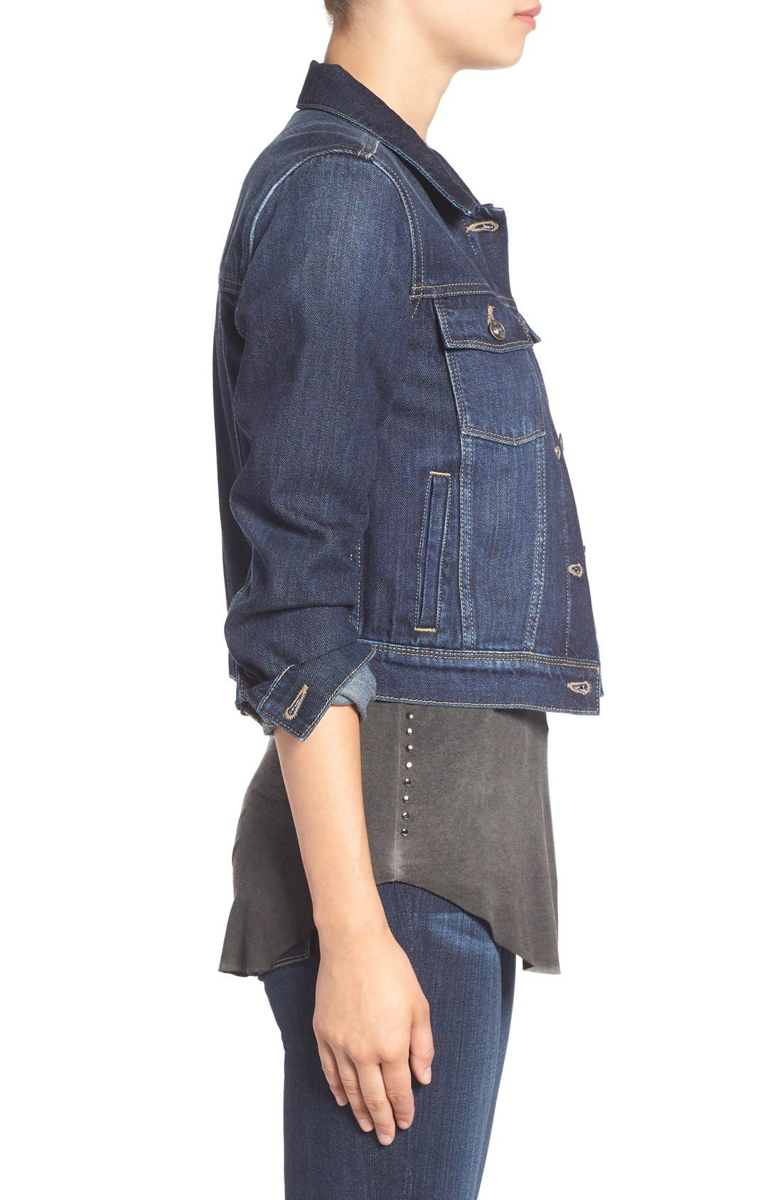 'Vivienne' Denim Jacket,                             Alternate thumbnail 3, color,                             400