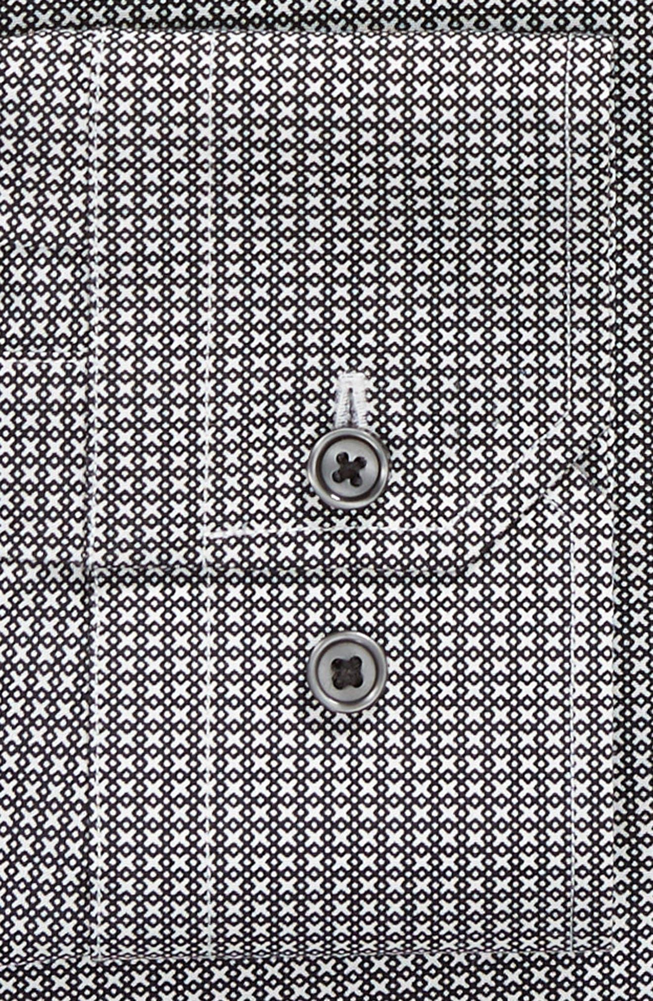 Trim Fit Stretch Non-Iron Geometric Dress Shirt,                             Alternate thumbnail 6, color,                             BLACK ROCK
