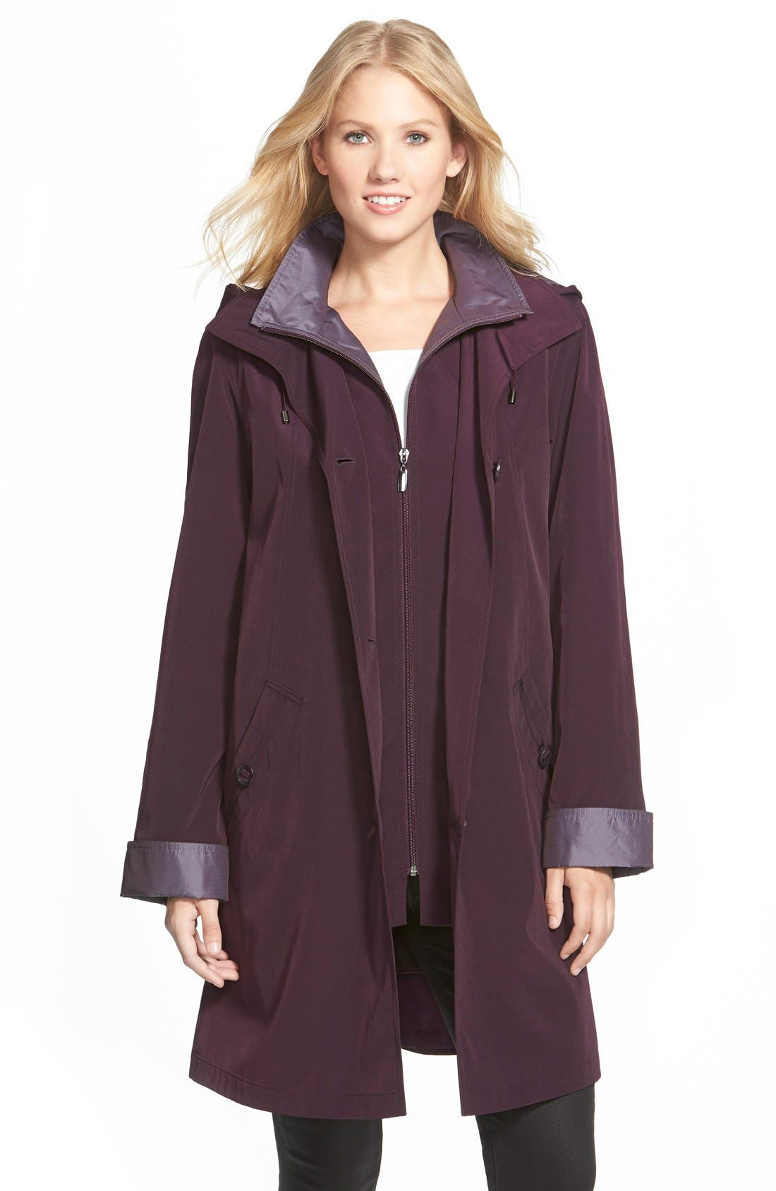 Two Tone Long Silk Look Raincoat,                             Main thumbnail 1, color,                             518