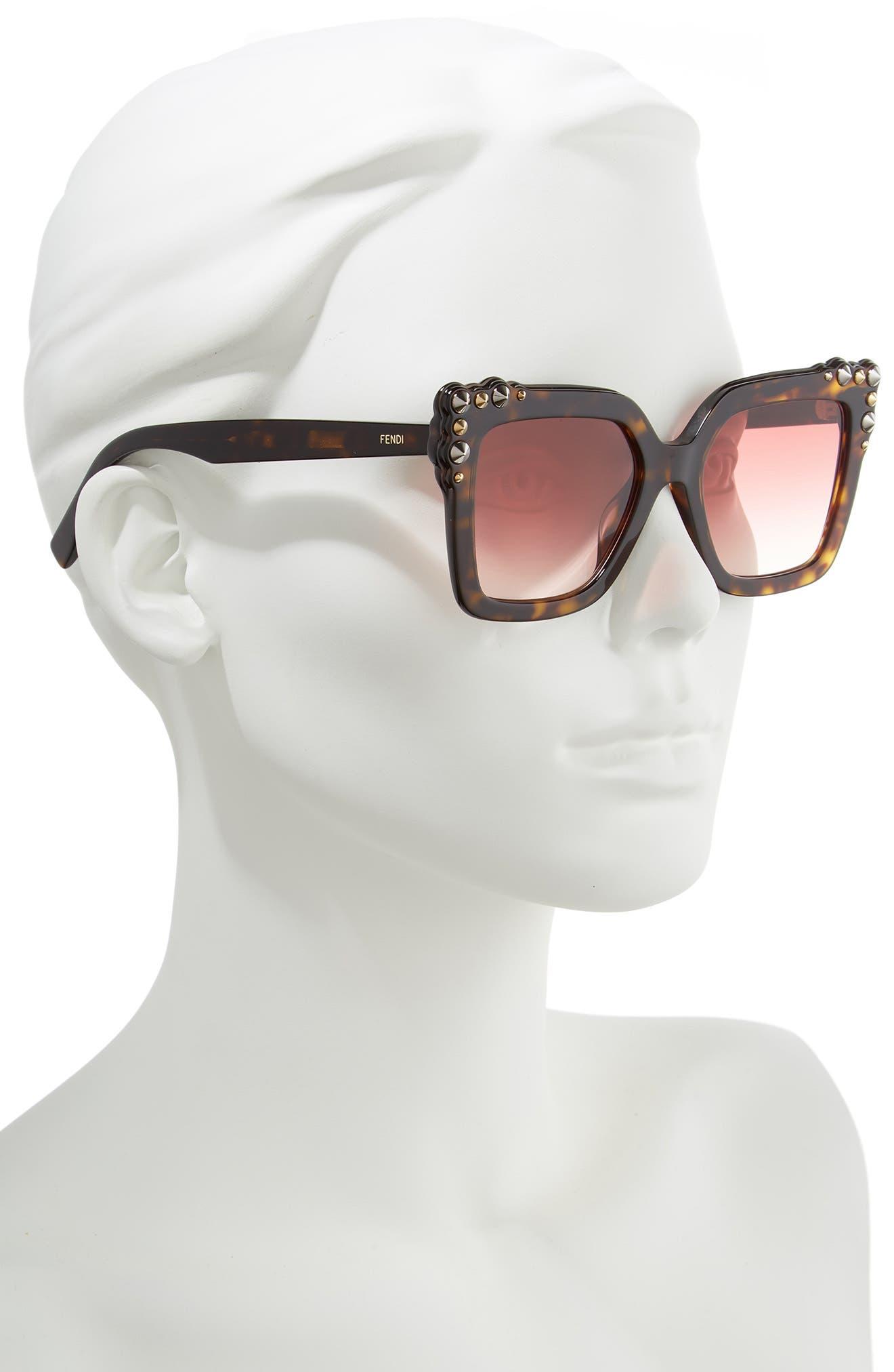 52mm Gradient Cat Eye Sunglasses,                             Alternate thumbnail 2, color,                             DARK HAVANA