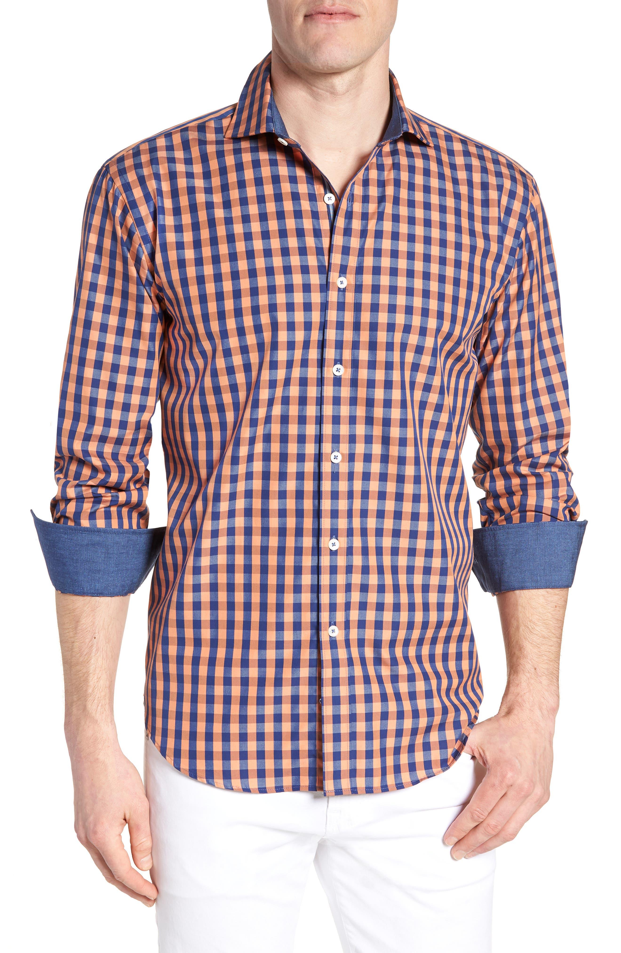 Shaped Fit Check Sport Shirt,                             Main thumbnail 1, color,                             JAFFA