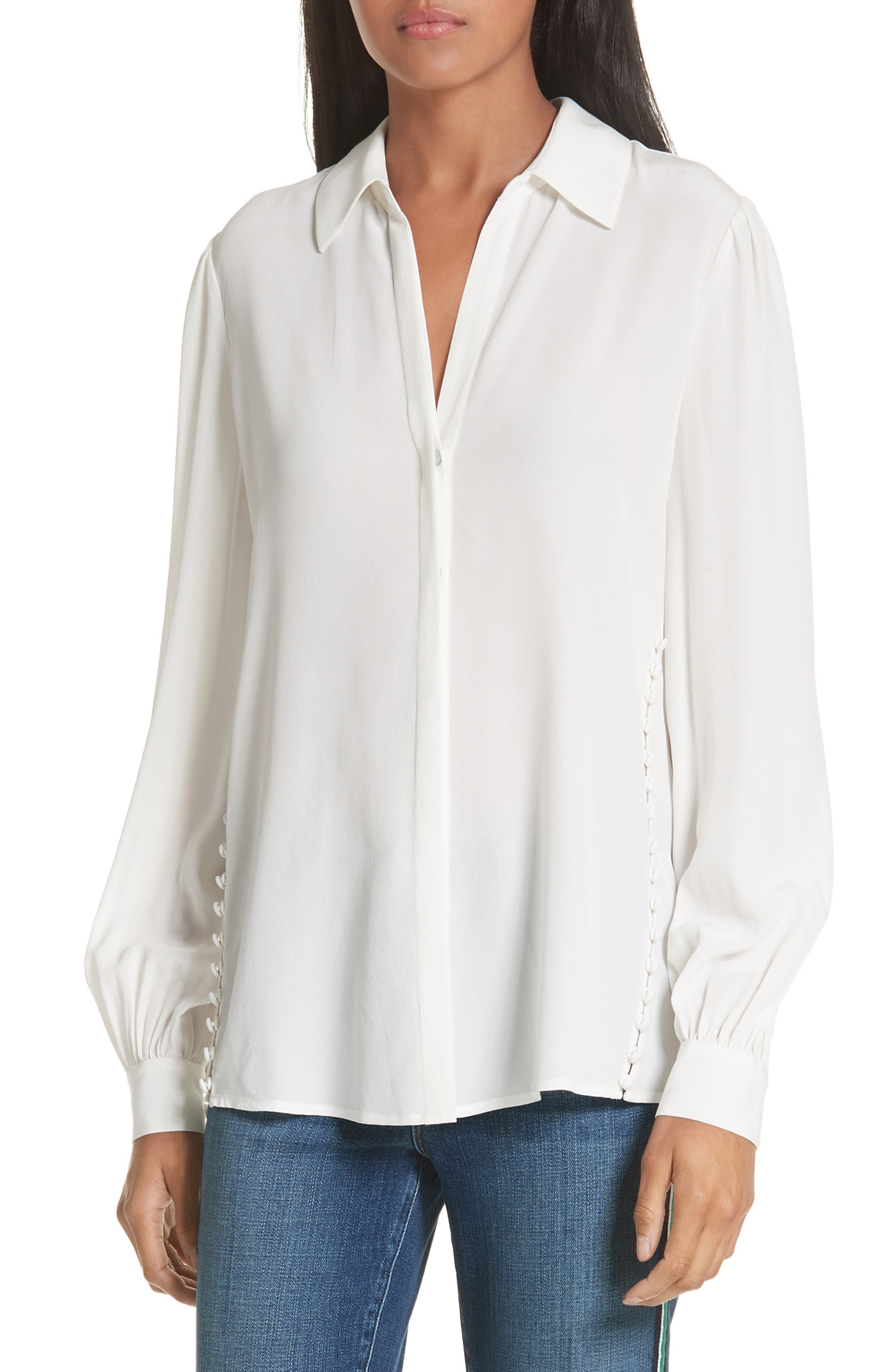Cinzia Side Button Silk Blouse,                         Main,                         color, IVORY