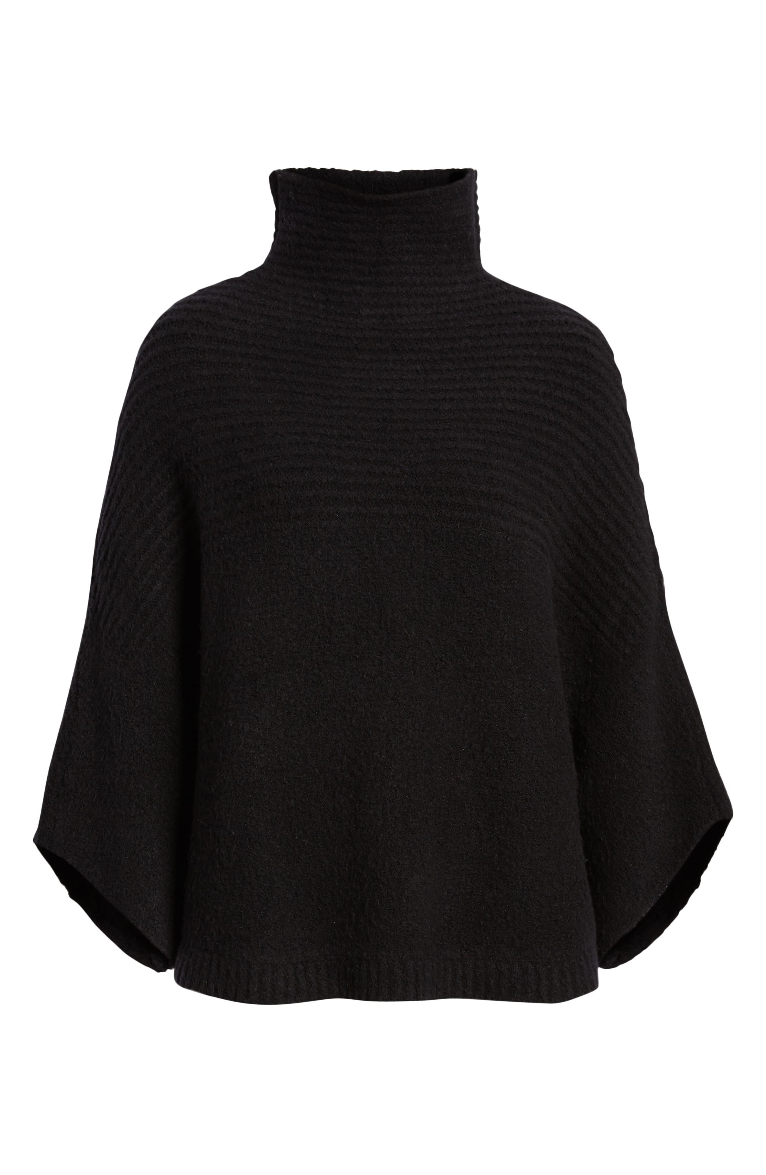 Rib Knit Turtleneck Poncho,                             Alternate thumbnail 6, color,                             BLACK