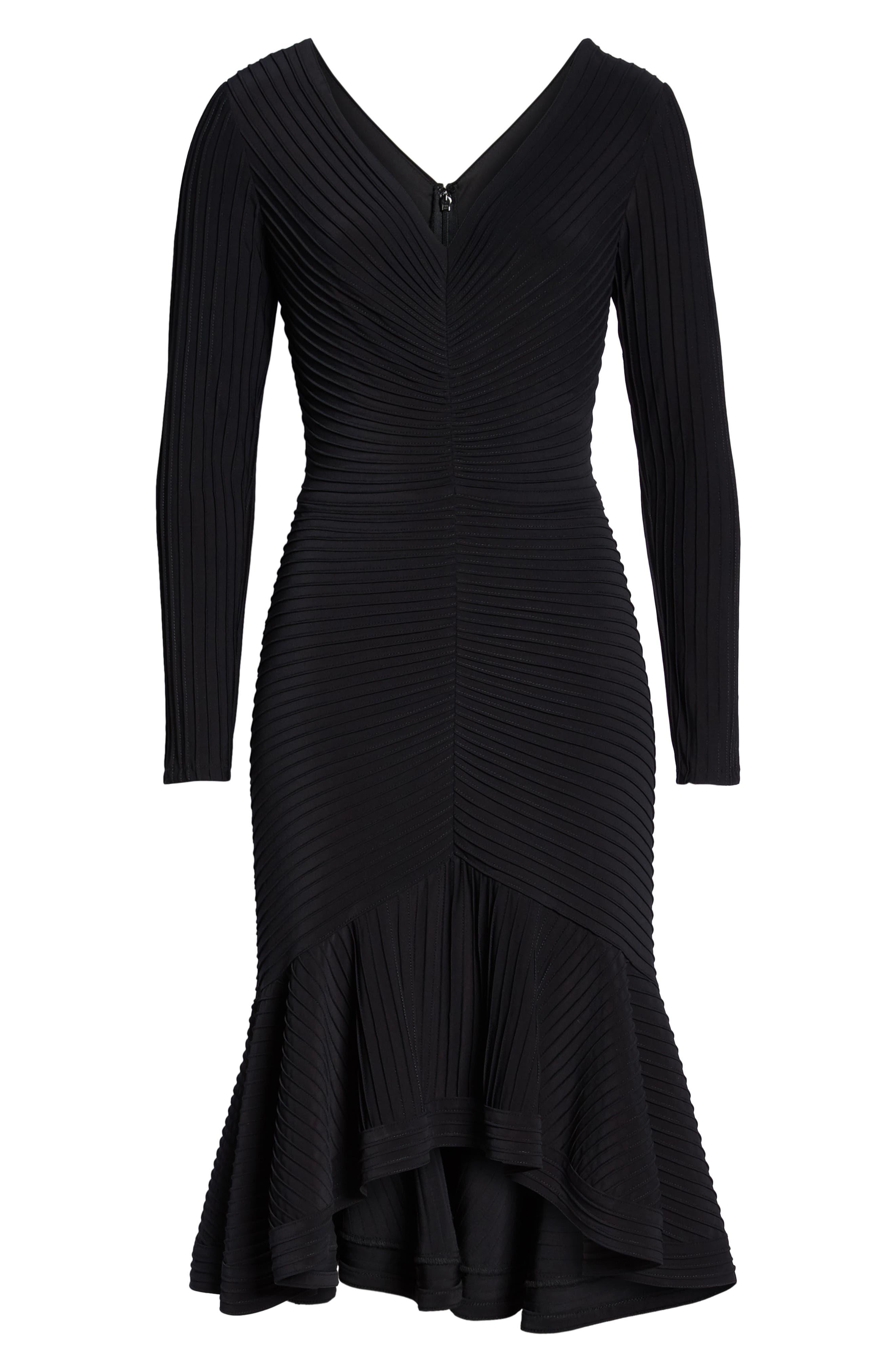 Pintuck High/Low Midi Dress,                             Alternate thumbnail 7, color,                             BLACK