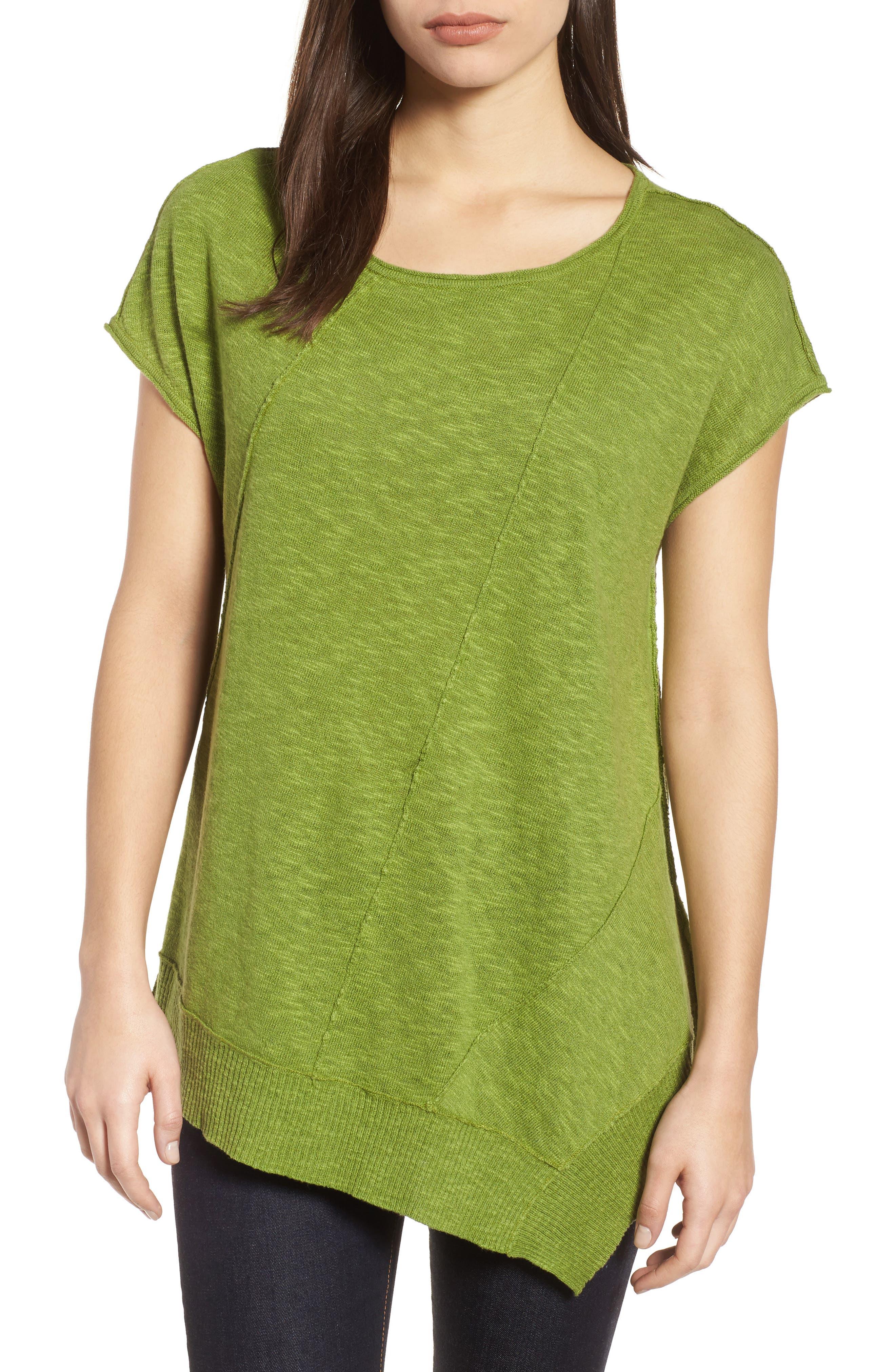 Cap Sleeve Organic Linen & Cotton Scoop Neck Top,                             Main thumbnail 4, color,