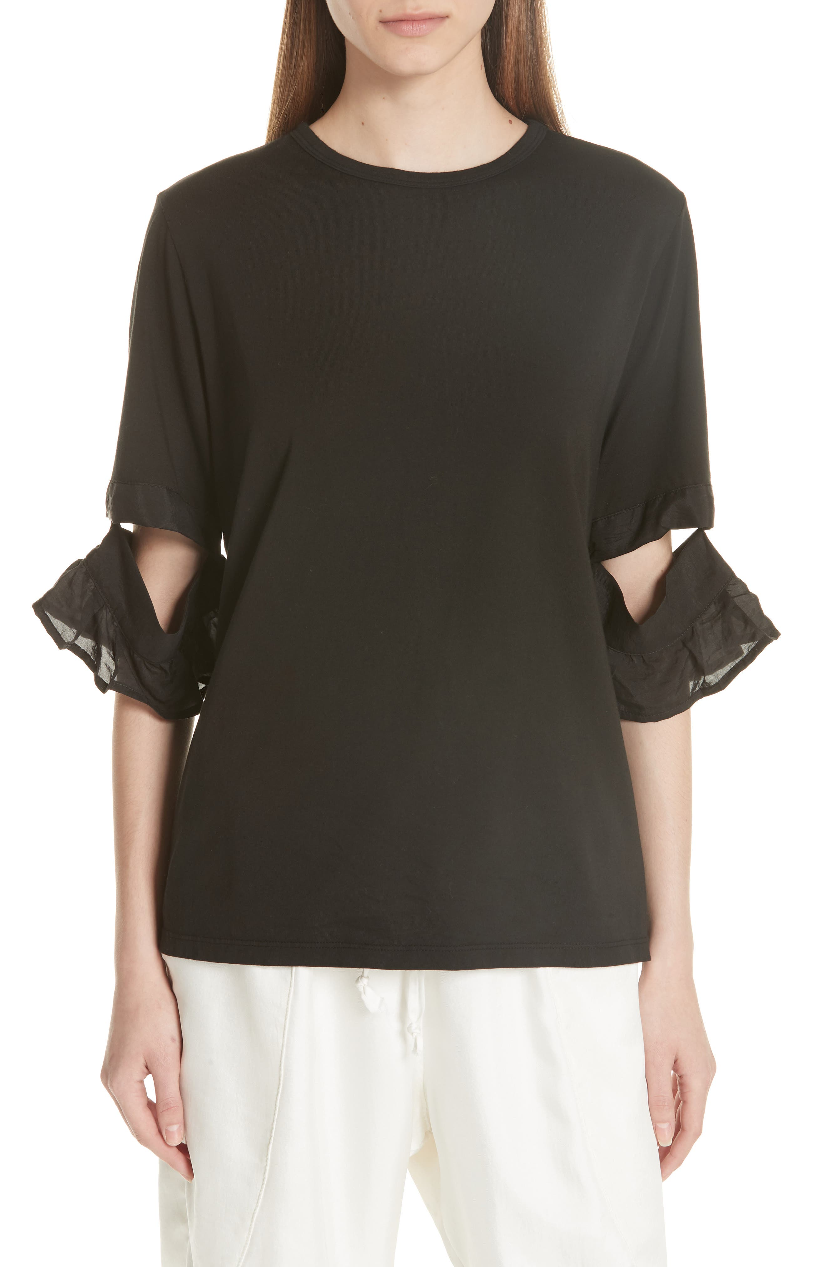 Open Sleeve Top,                             Main thumbnail 1, color,                             BLACK