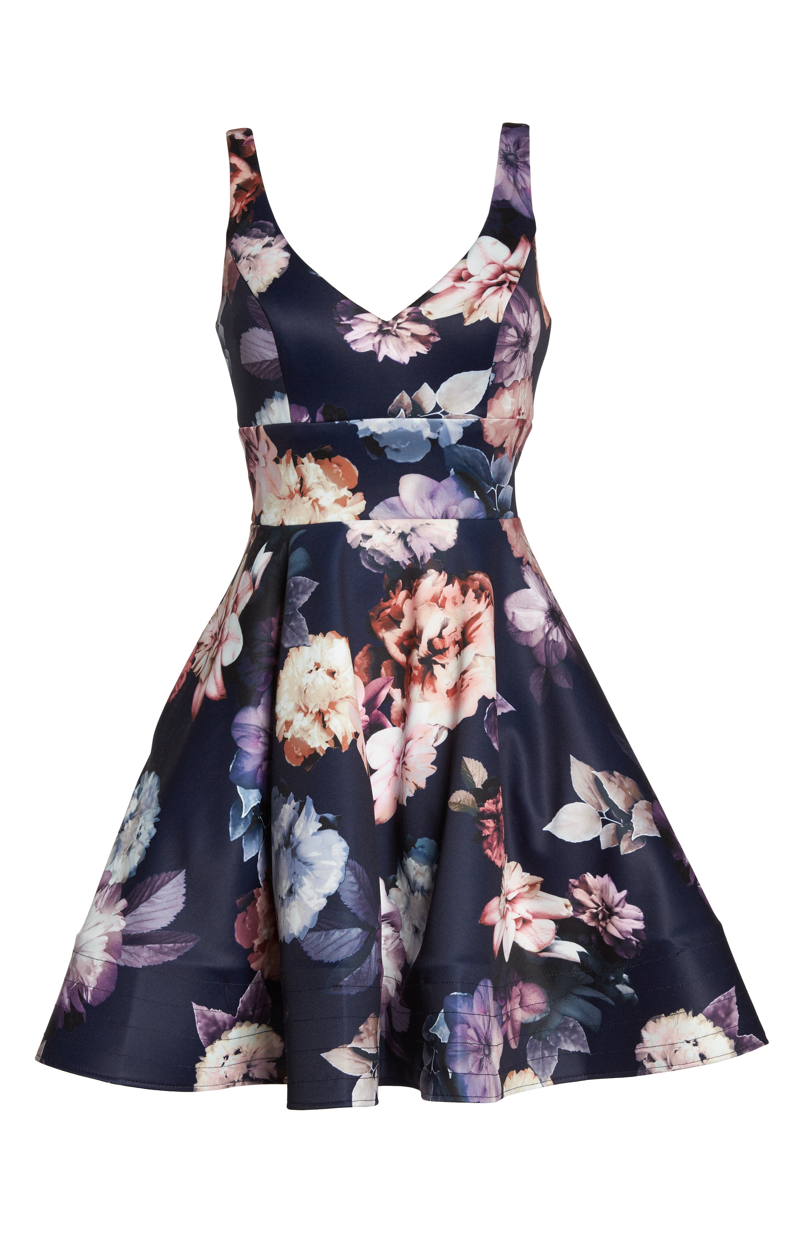 Floral Print Fit & Flare Dress,                             Alternate thumbnail 7, color,                             NAVY/ PURPLE