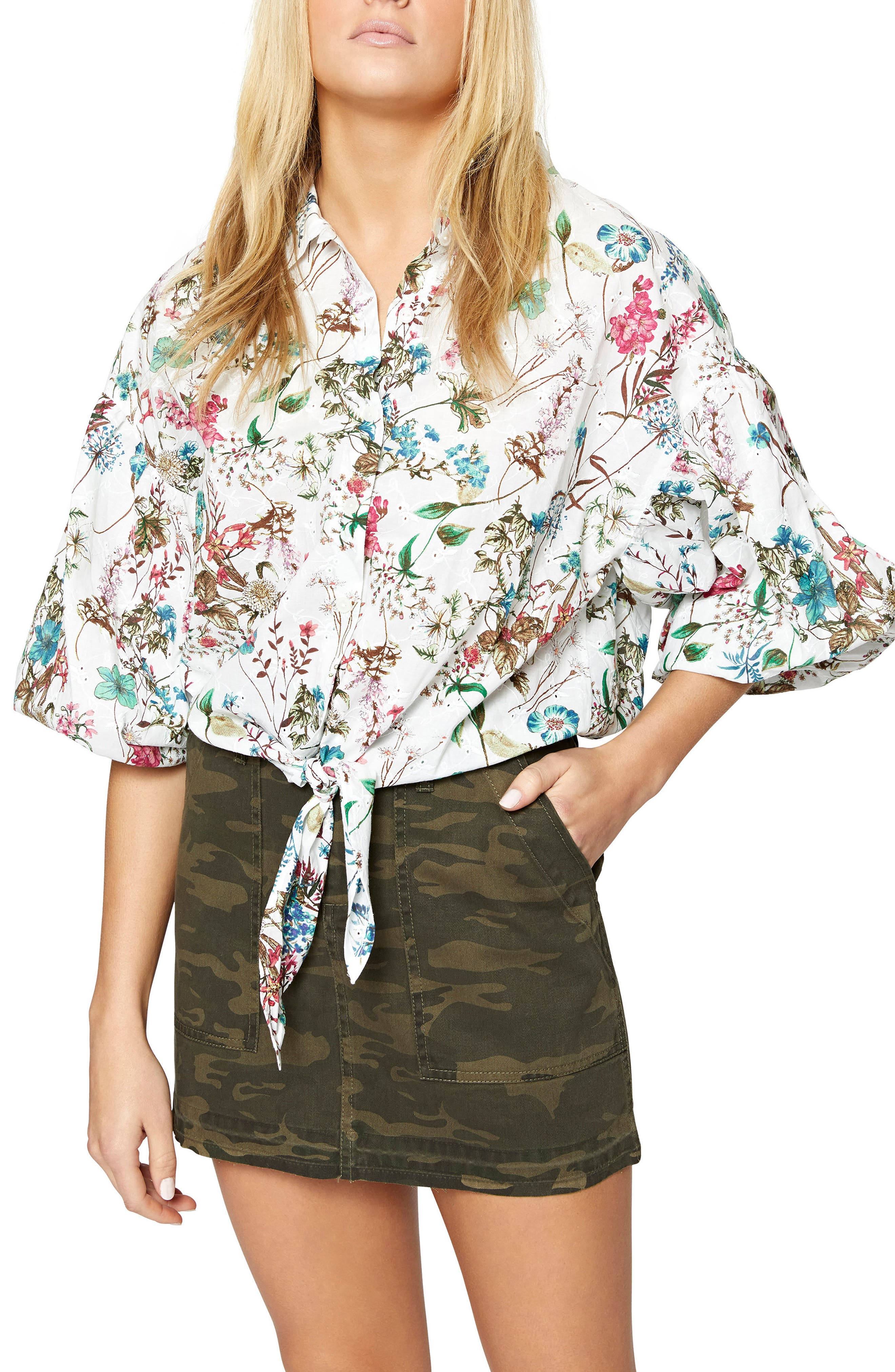 Clover Tie Front Cotton Shirt,                             Main thumbnail 2, color,
