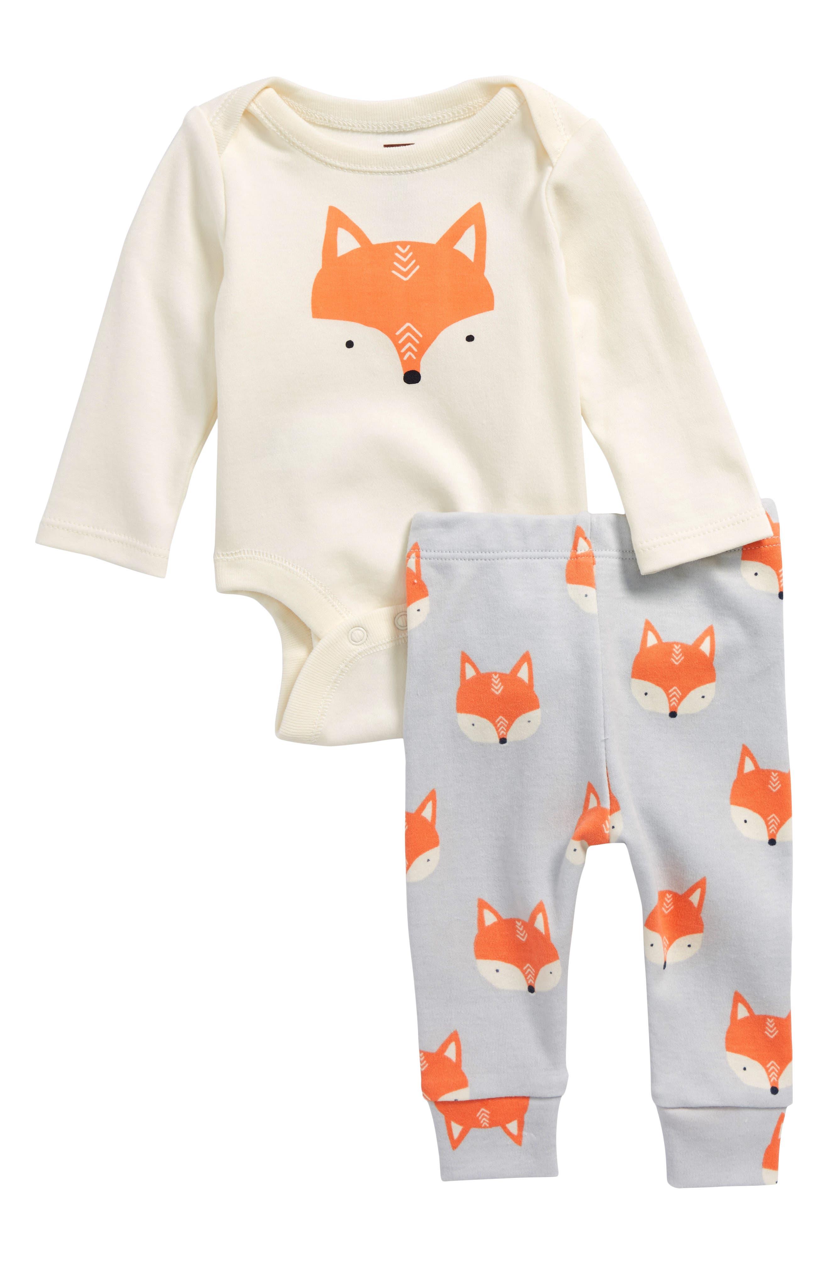 Fox Bodysuit & Pants Set,                             Main thumbnail 1, color,                             900