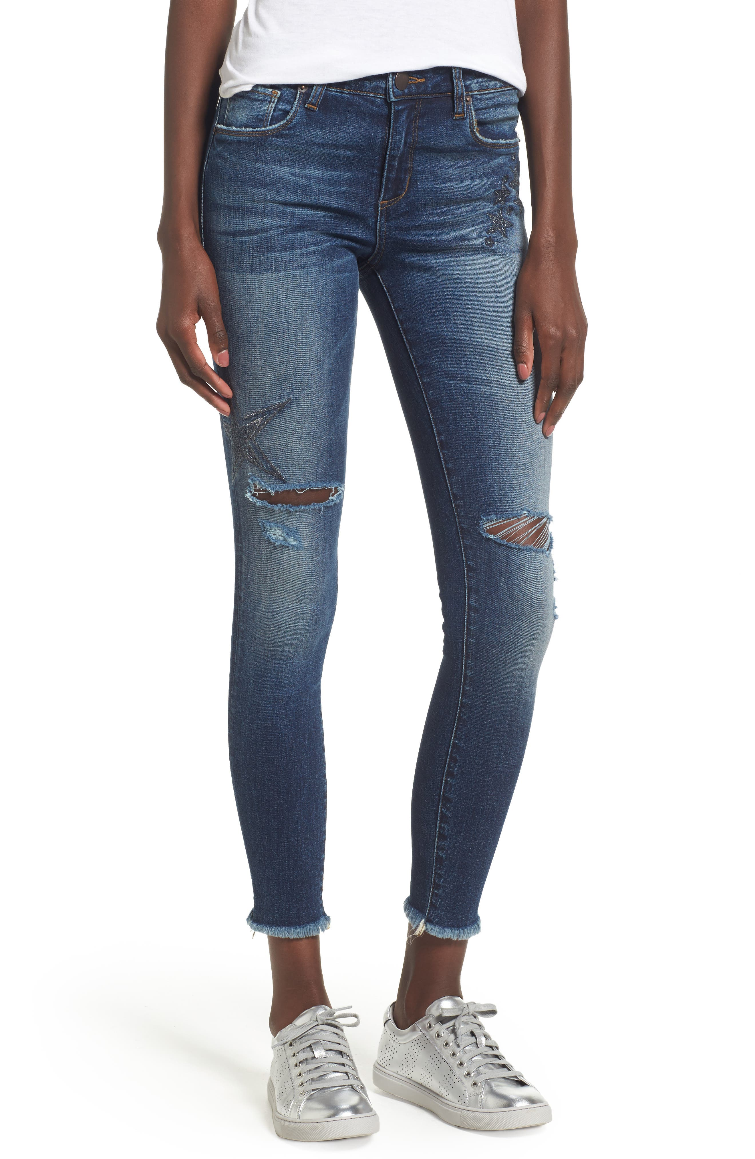 Star Embroiderd Skinny Ankle Jeans,                             Main thumbnail 1, color,                             400