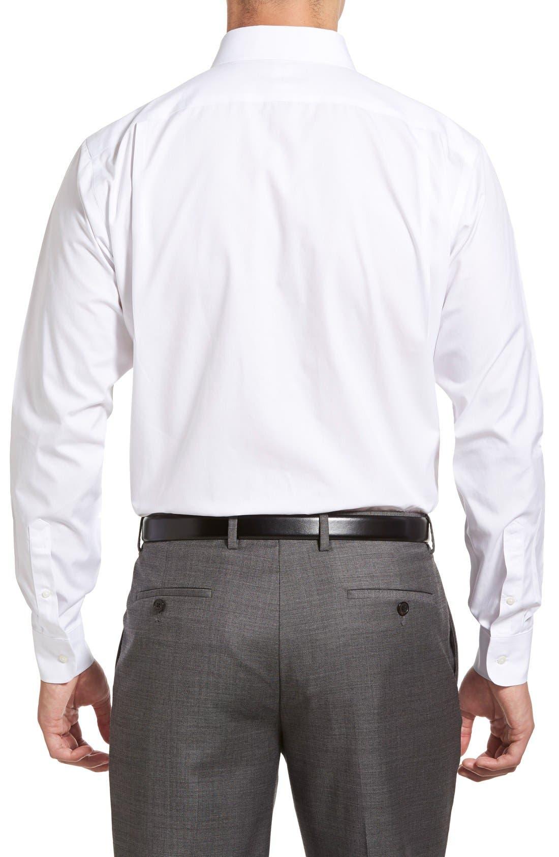 Smartcare<sup>™</sup> Trim Fit Solid Dress Shirt,                             Alternate thumbnail 3, color,                             WHITE