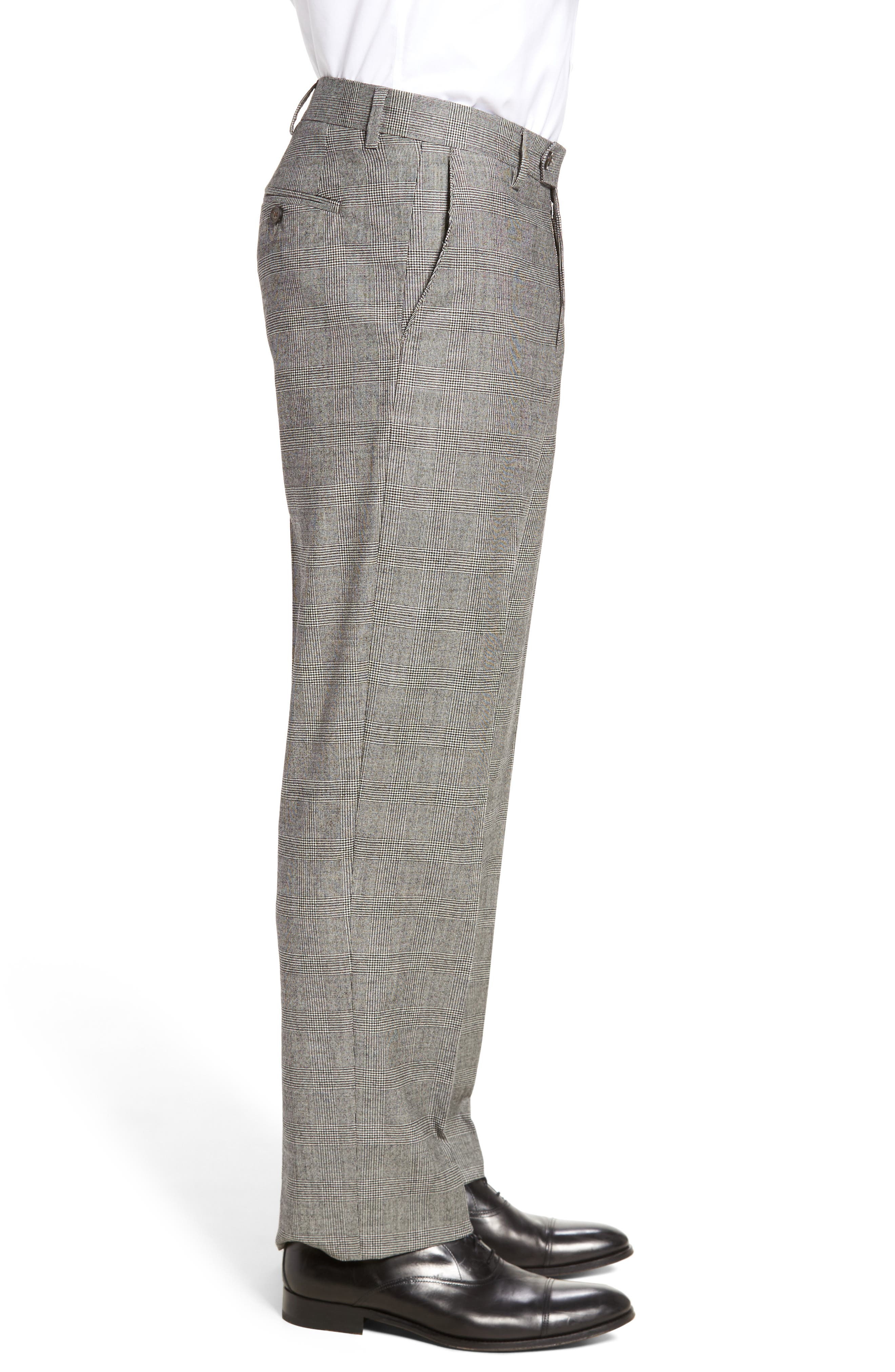 Flat Front Stretch Plaid Wool Trousers,                             Alternate thumbnail 4, color,                             BLACK/ WHITE