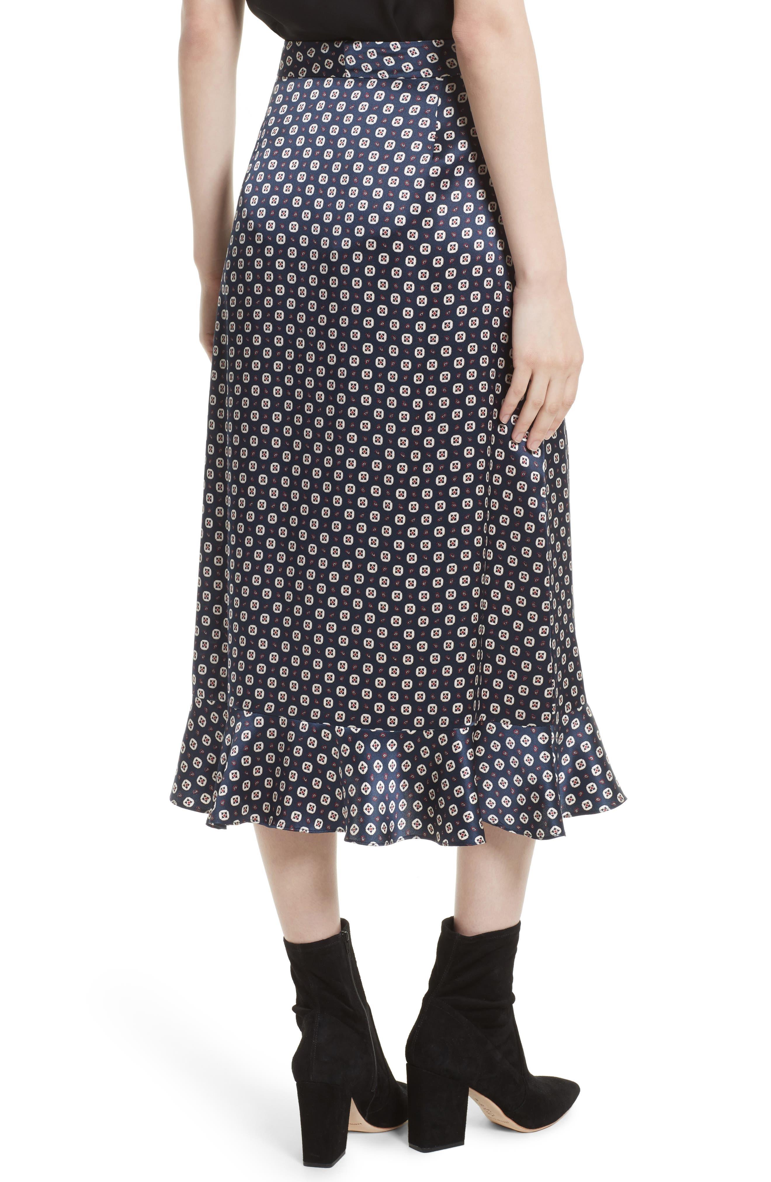 Print Silk Midi Skirt,                             Alternate thumbnail 2, color,